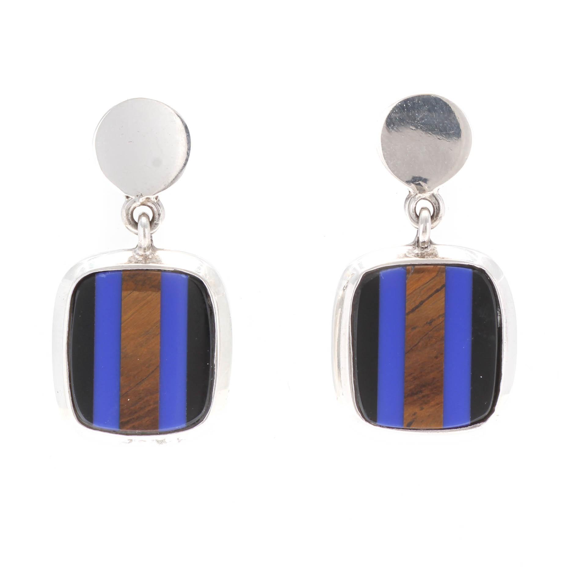 Sterling Silver Gemstone Dangle Pierced Earrings