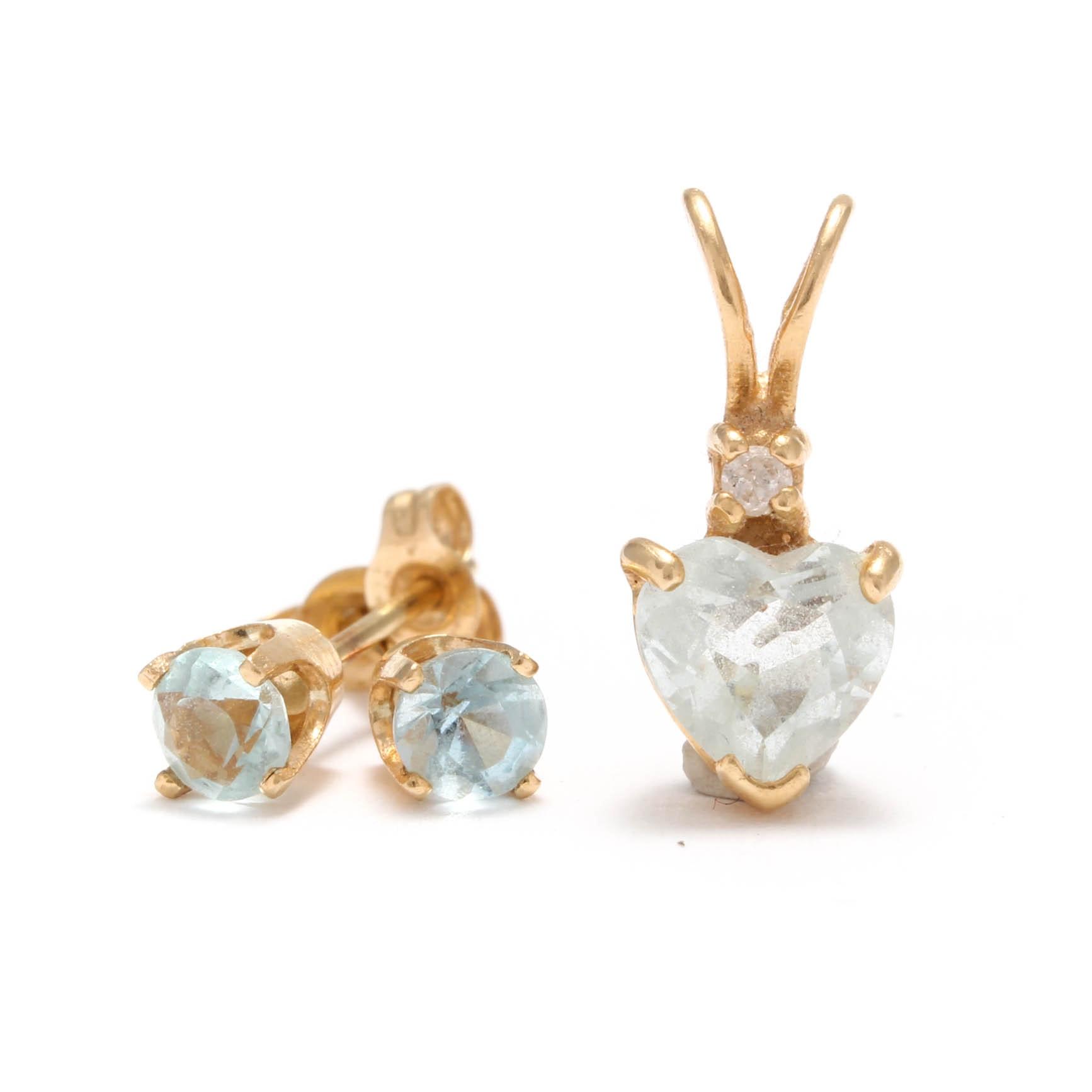 14K Yellow Gold Topaz Diamond Heart Pendant and Topaz Earrings
