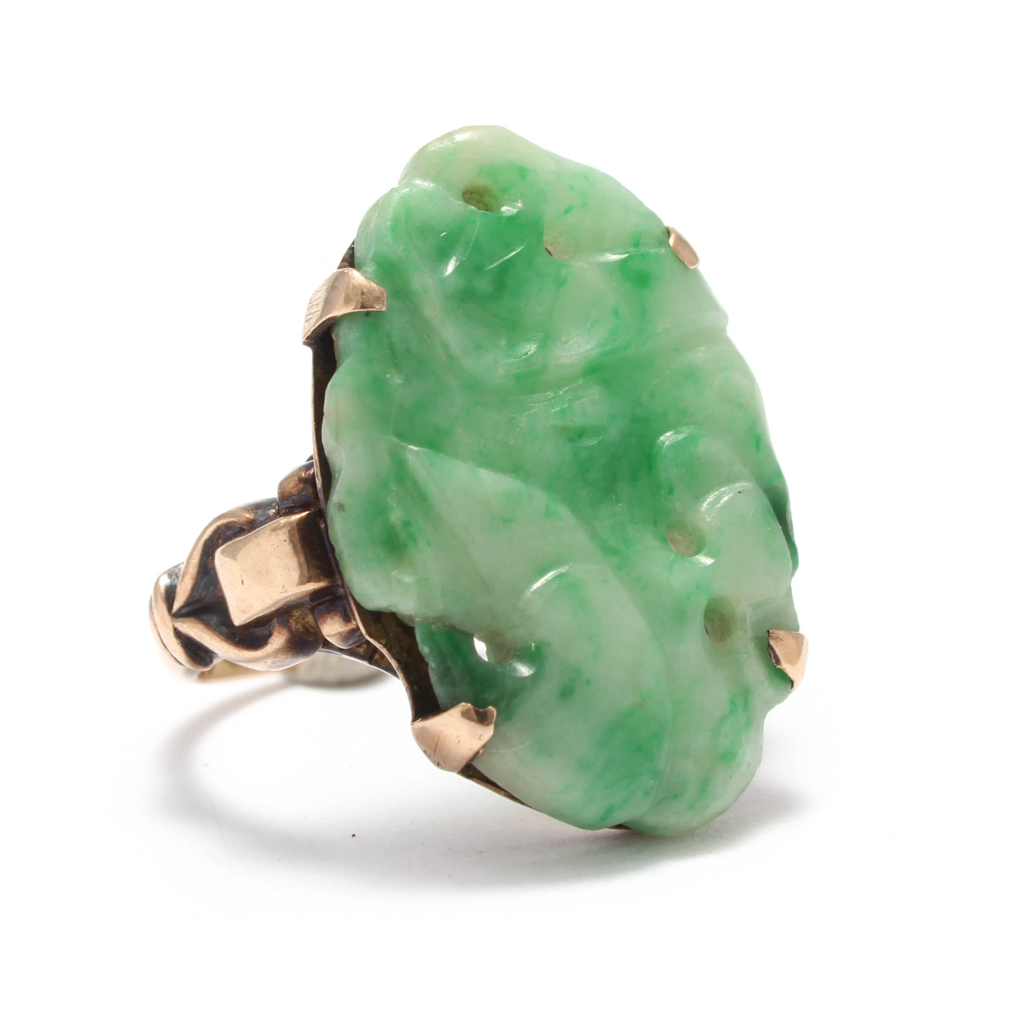 Chinese 10K Yellow Gold Carved Jadeite Ring
