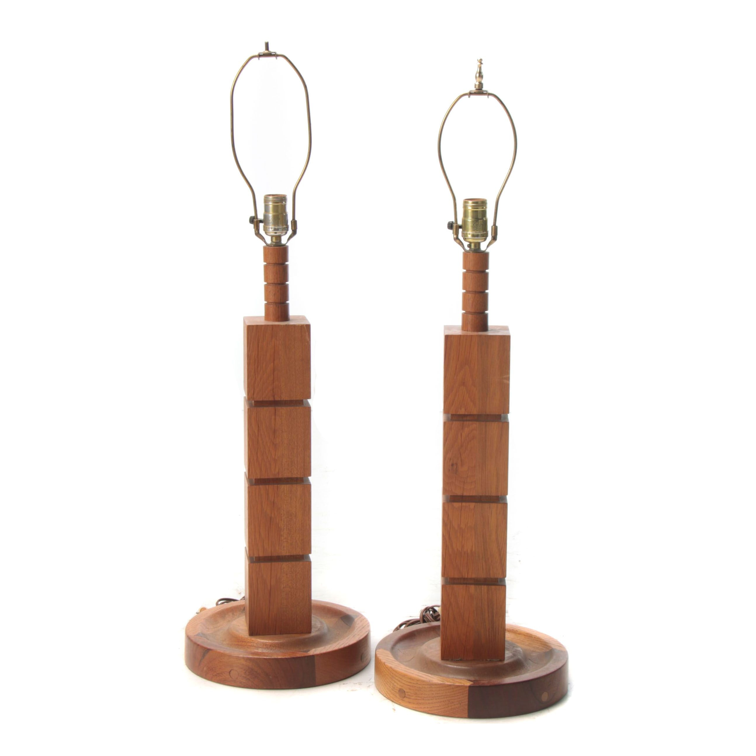 Bench Made Mixed Wood Table Lamps, Mid-Century