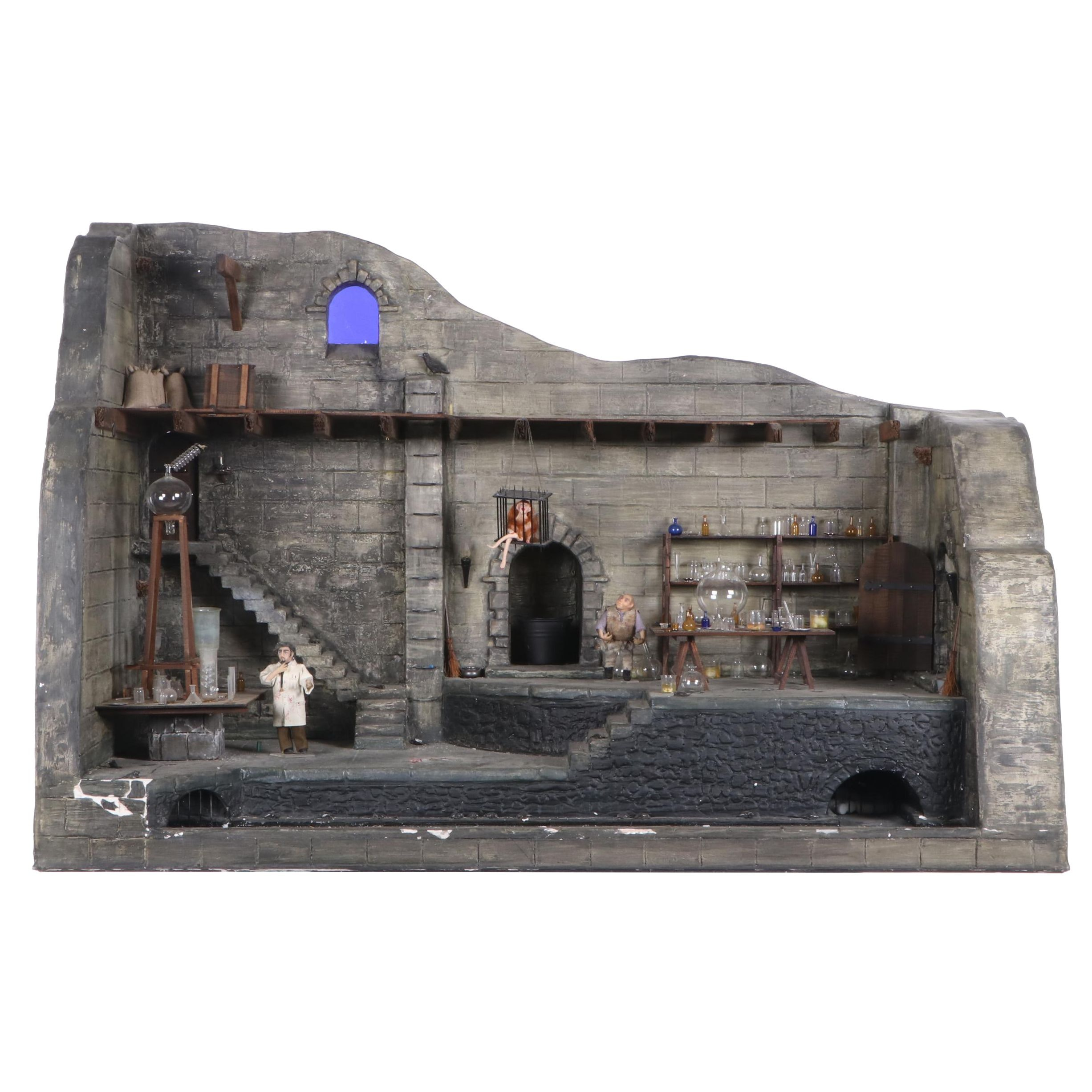 Frankenstein's Laboratory Electrified Dollhouse with Ray Storey Glass Miniatures
