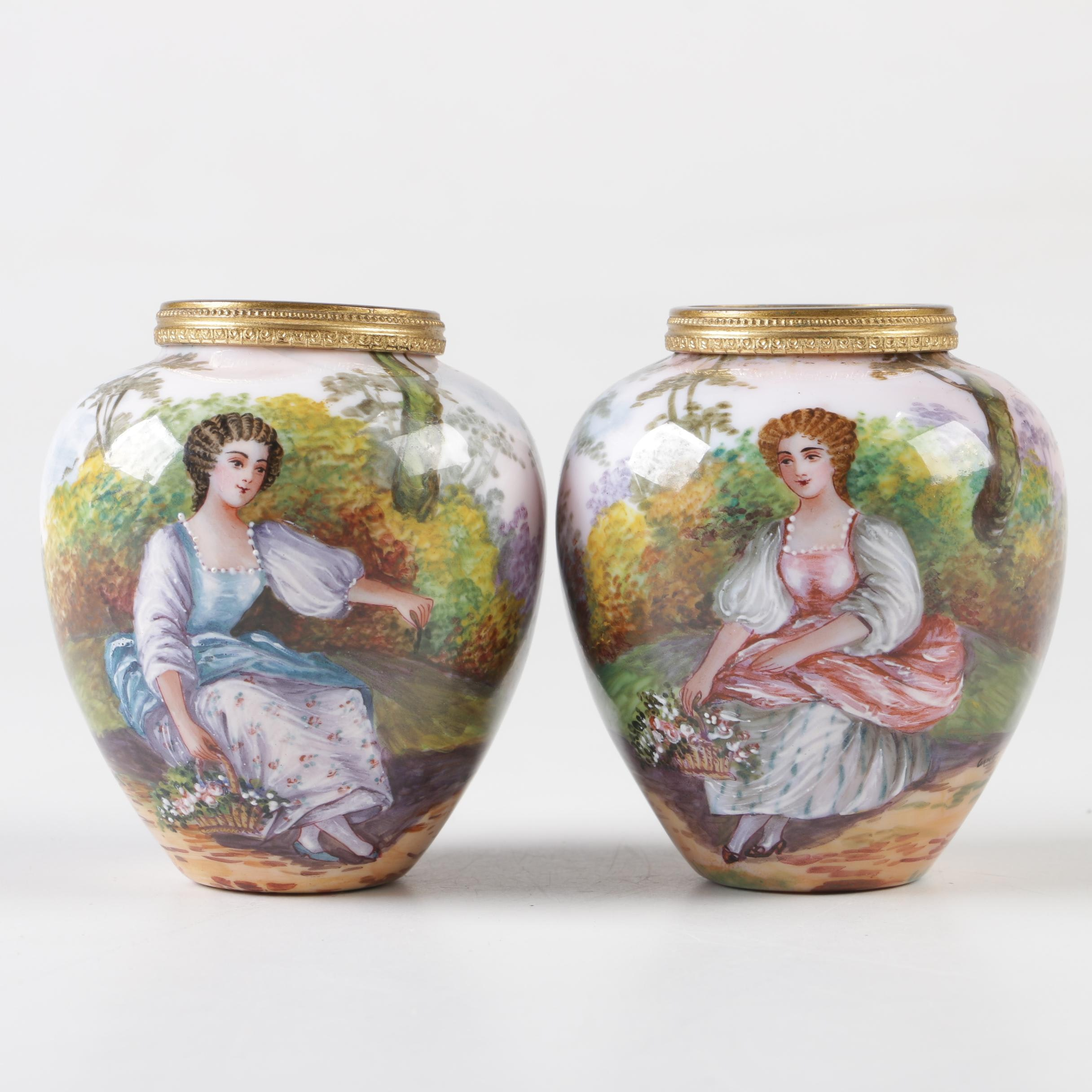 French Enamel Bud Vases