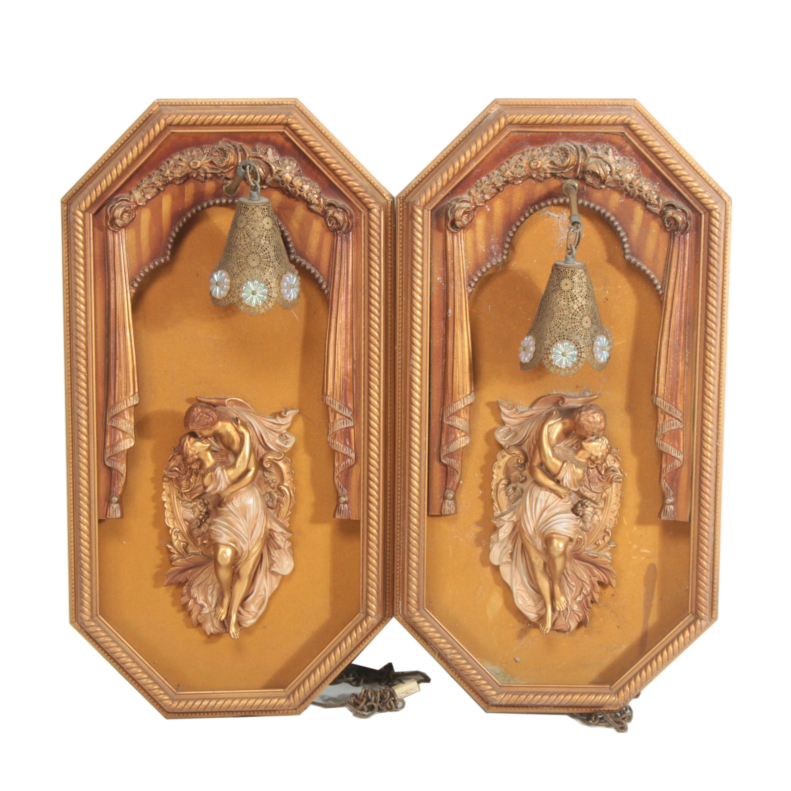 Giltwood Wall Lights with Resin Kissing Figures, Early 20th Century