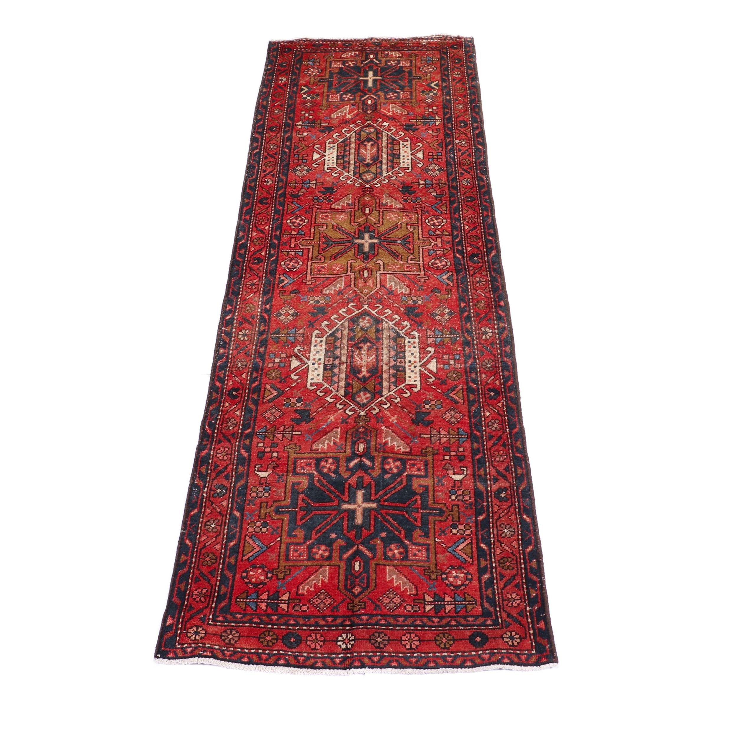 Hand-Knotted Persian Heriz Wool Runner