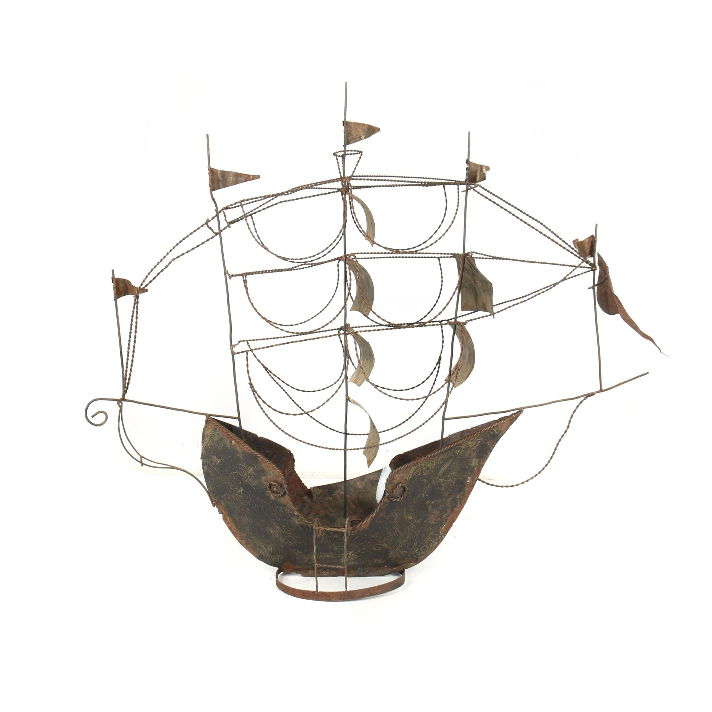 Handcrafted Found Metal Object Sailing Ship Lamp, Mid-Century