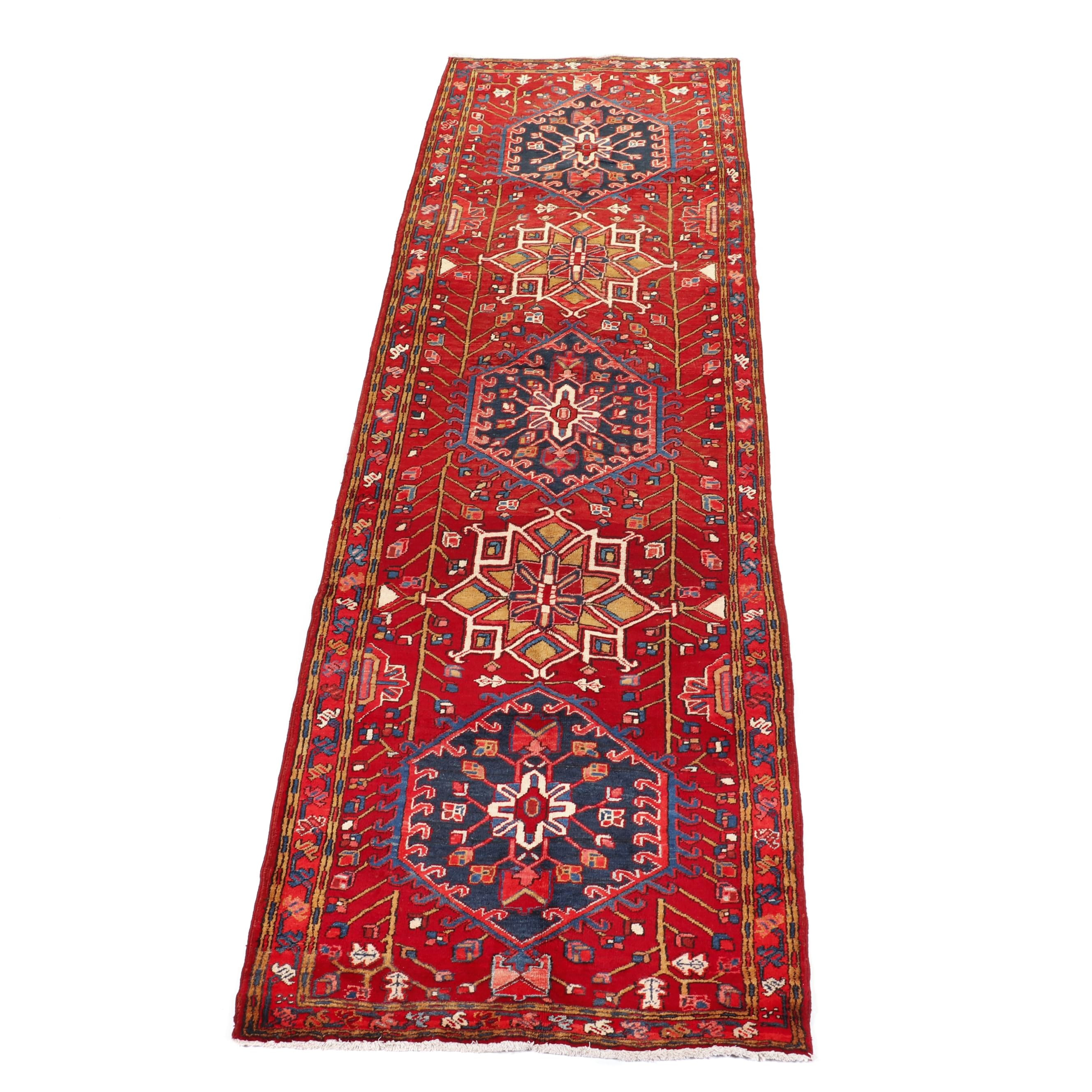 Hand-Knotted Persian Heriz Wool Runner