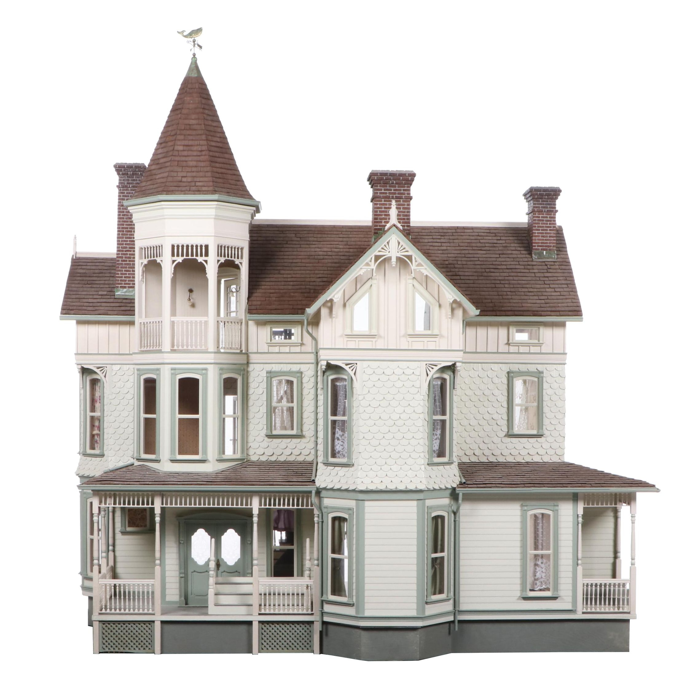 Victorian Style Dollhouse with Miniatures in the Style of Joseph Angel
