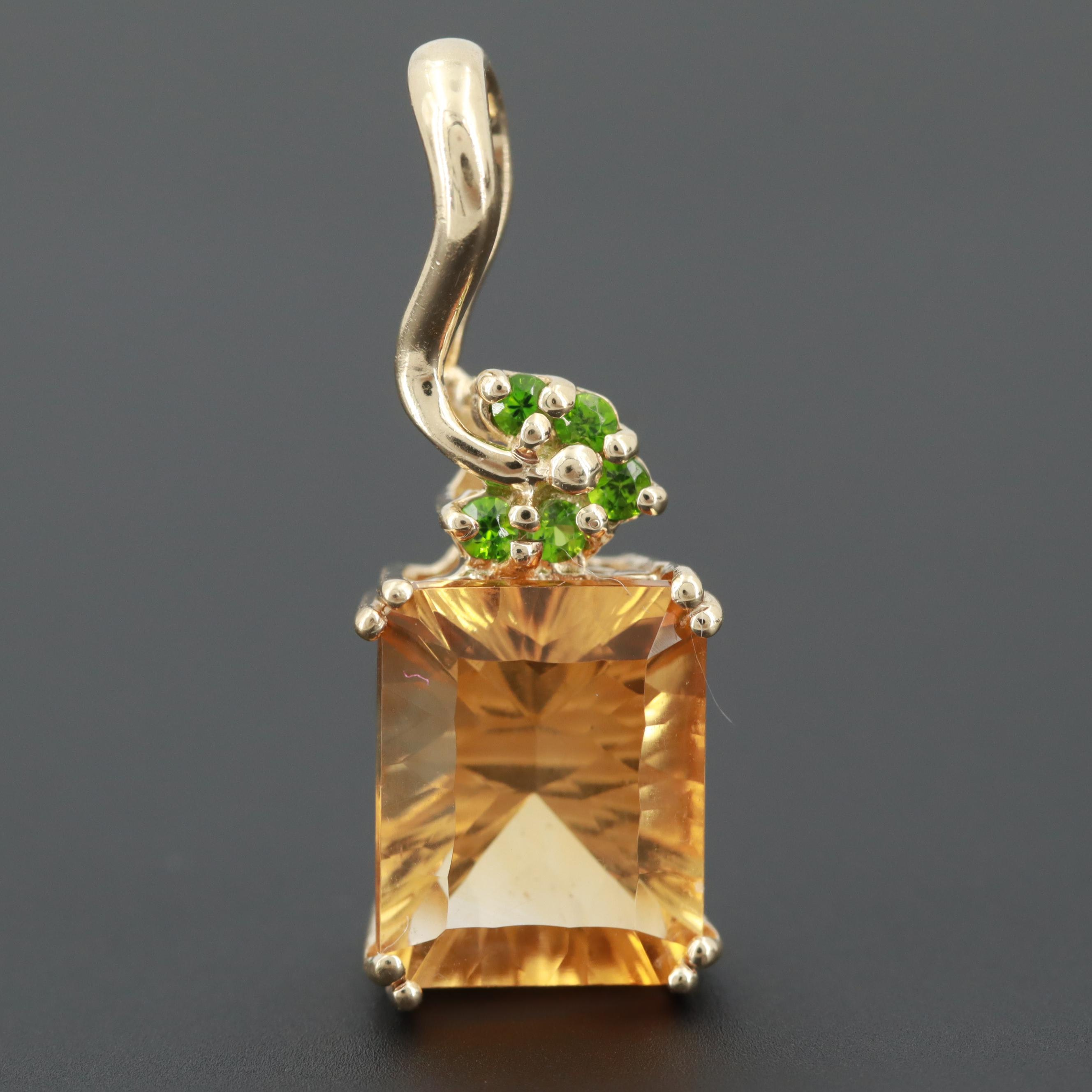 10K Yellow Gold Citrine and Diopside Pendant