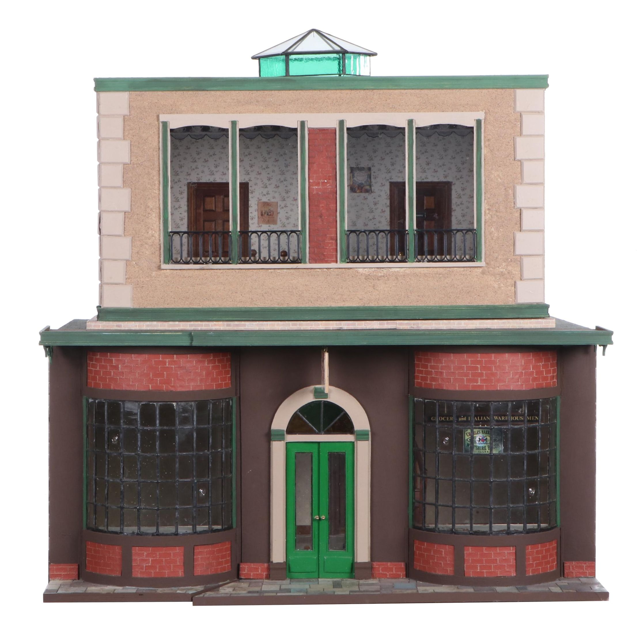 "English ""Food Emporium and Coffee Shop"" Electrified Dollhouse Miniature"