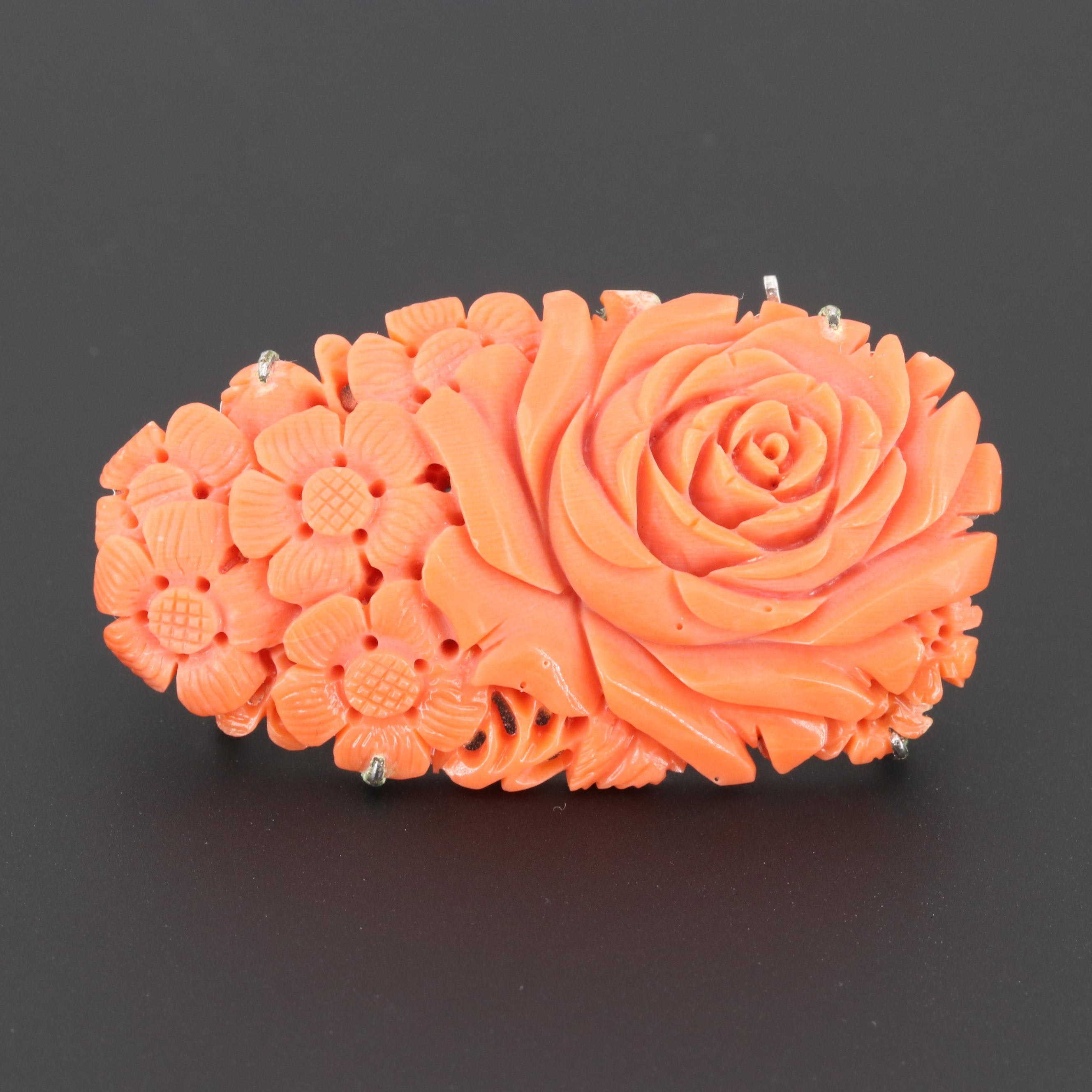 Chinese Carved Coral Floral Motif Brooch