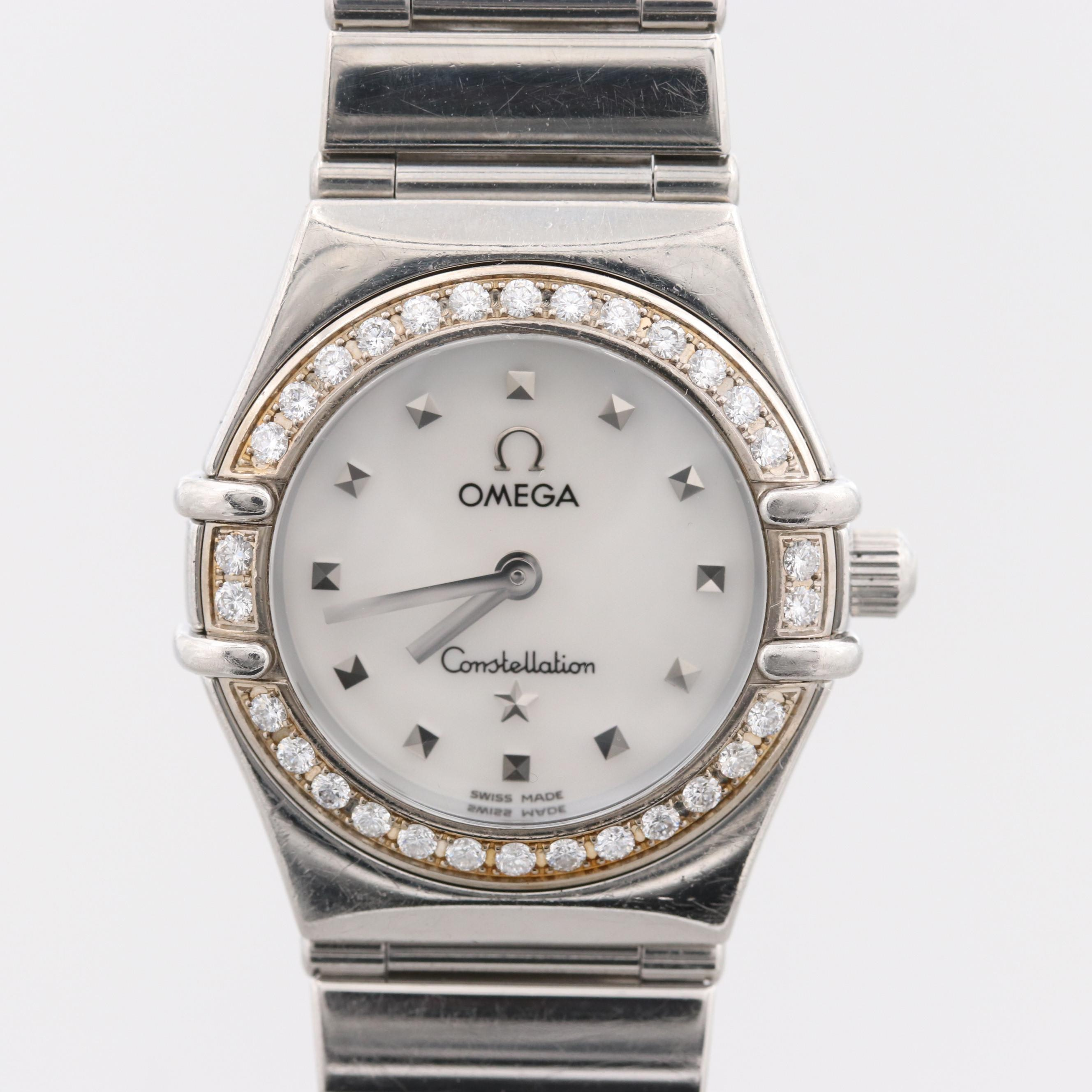 Omega Constellation Wristwatch With Diamond Bezel and Mother of Pearl Dial