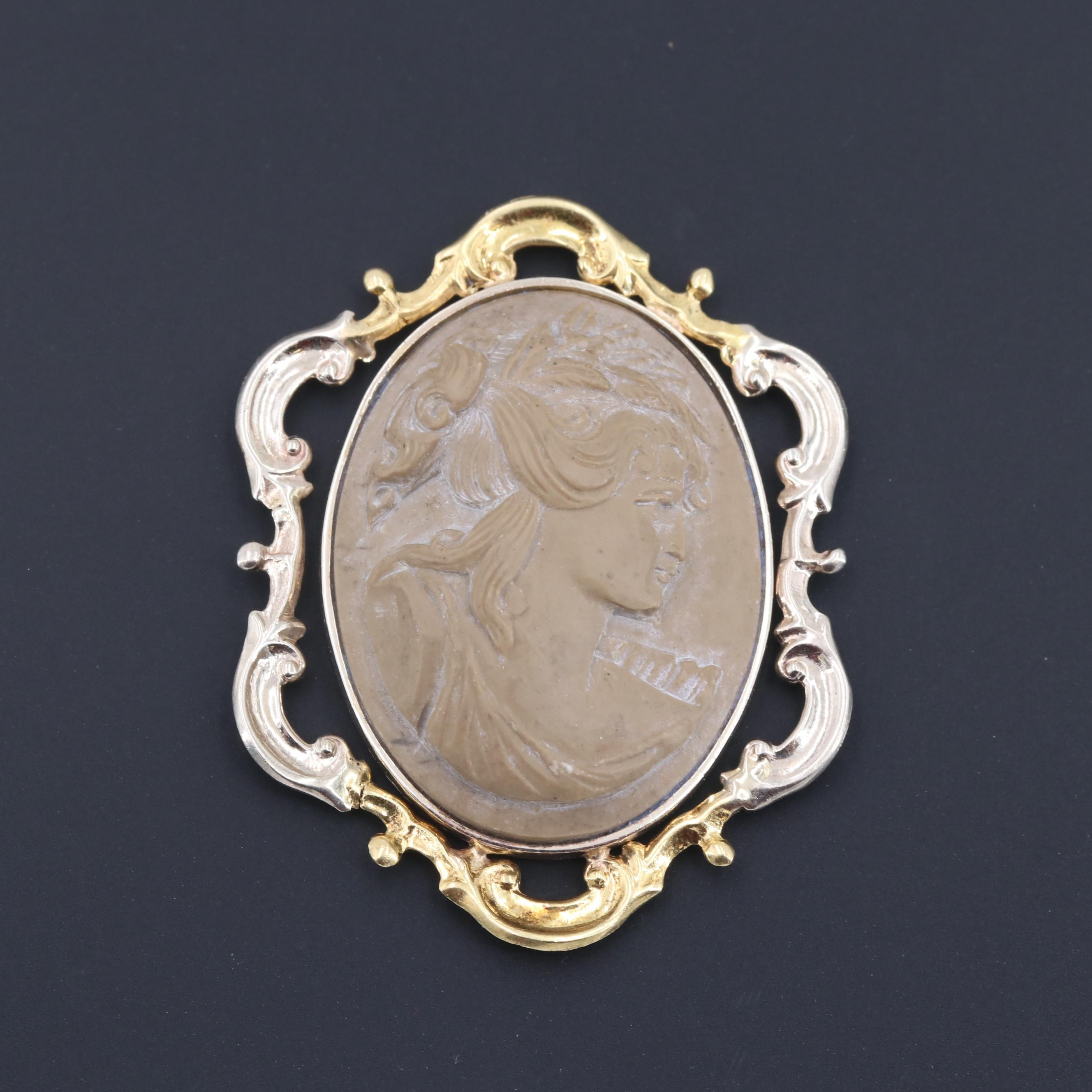 14K White and Yellow Gold Lava Cameo Pendant