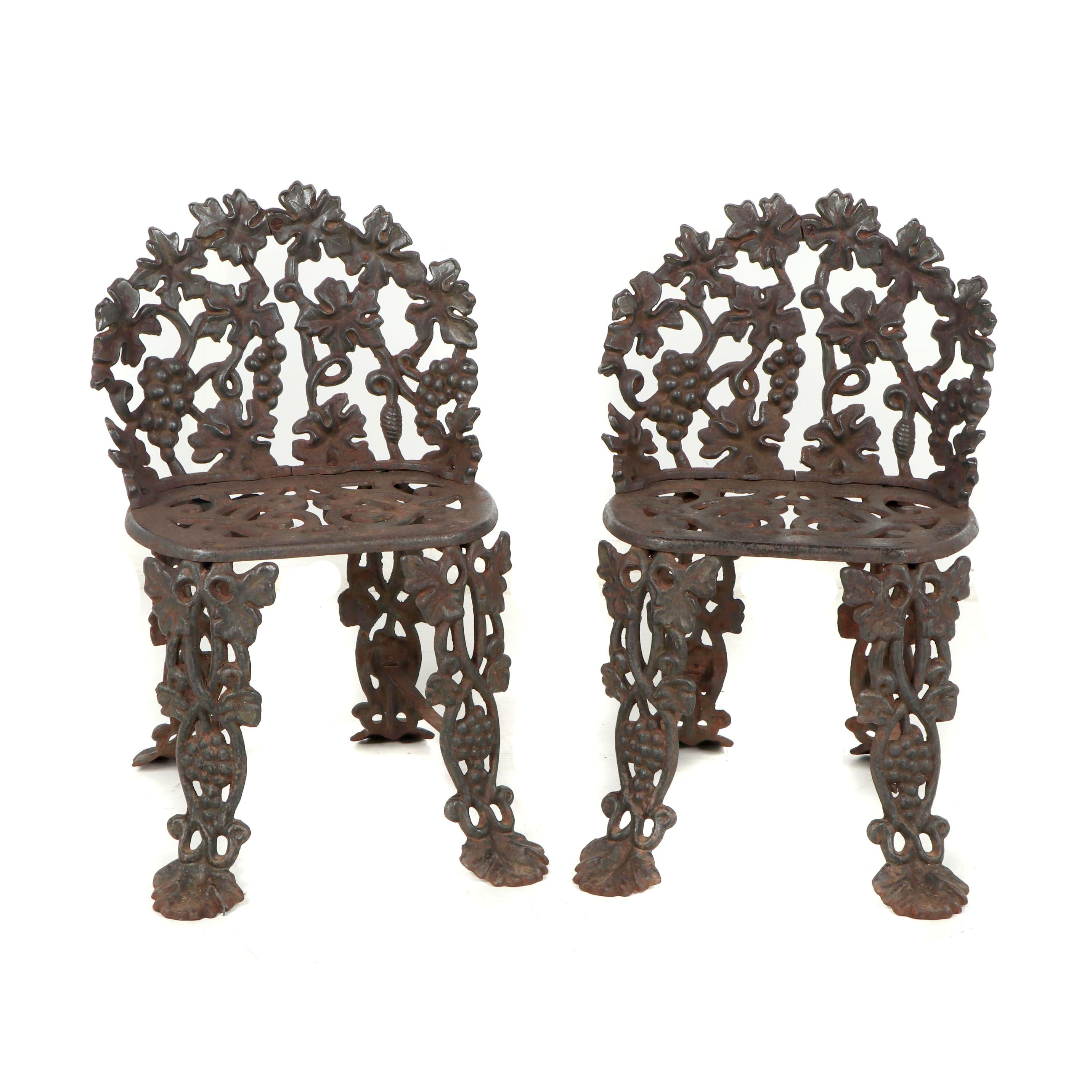 Late Victorian Metal Floral Outdoor Chairs