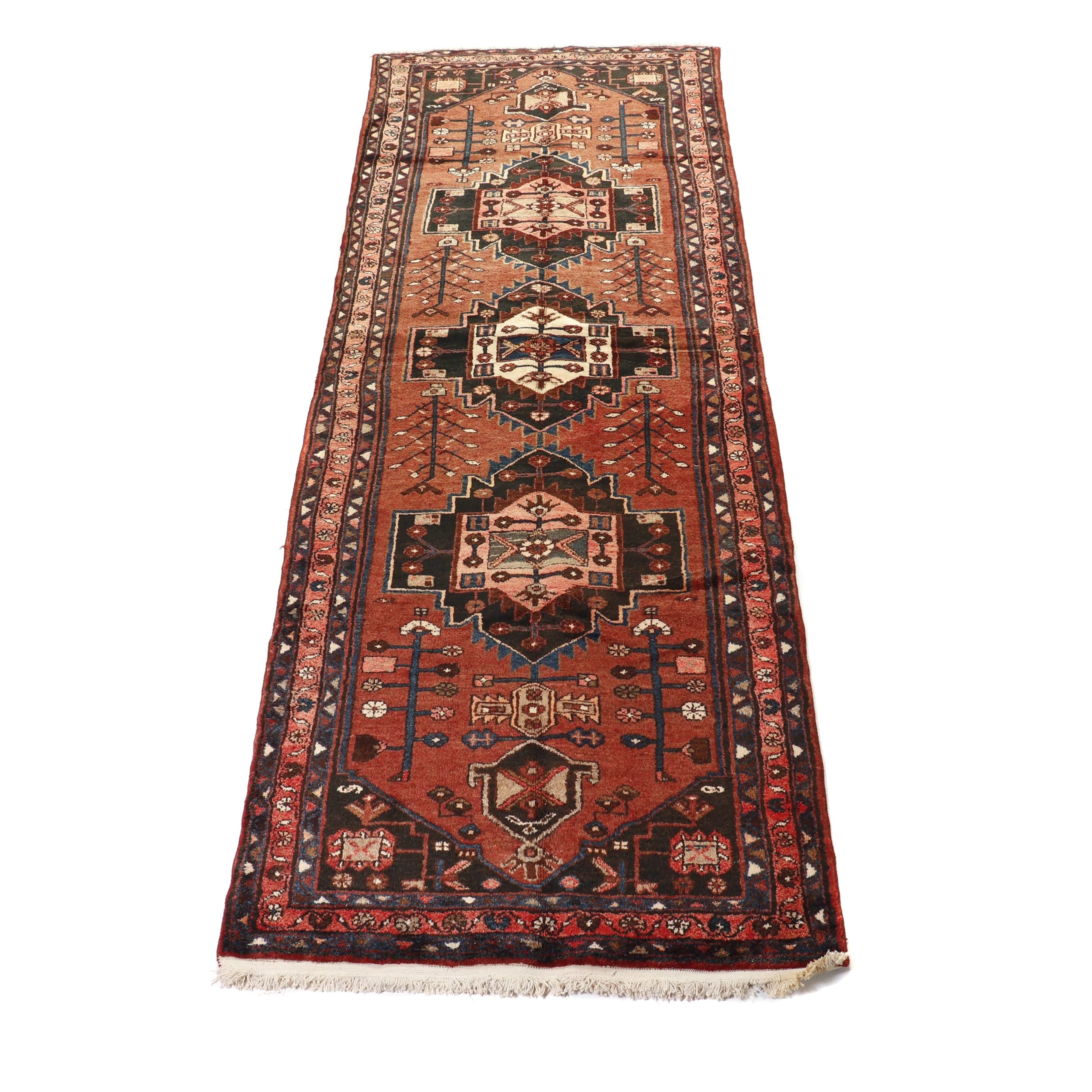 Hand-Knotted Persian Hamadan Wool Runner