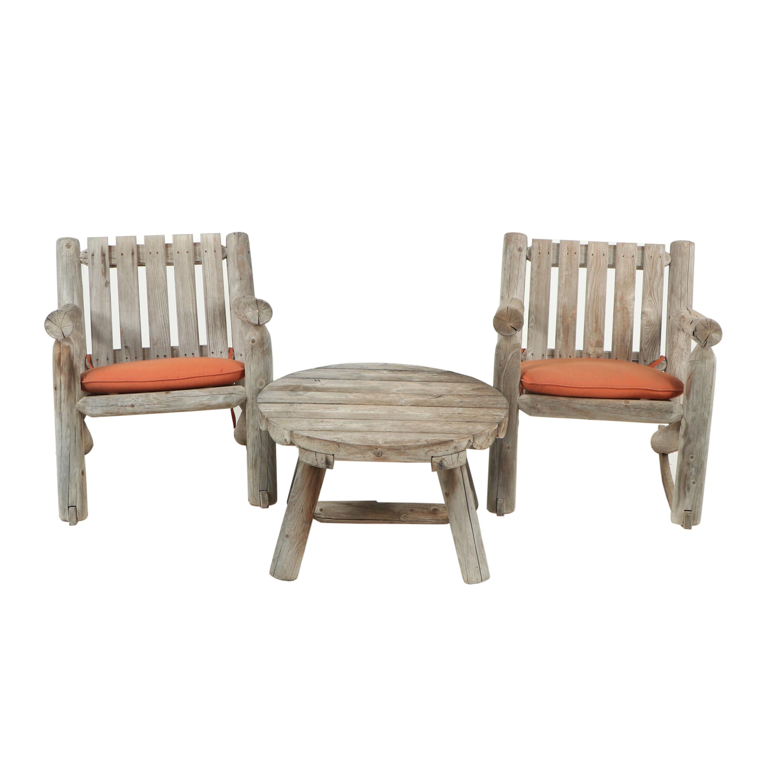 Two Outdoor Rocking Chairs and Round Table