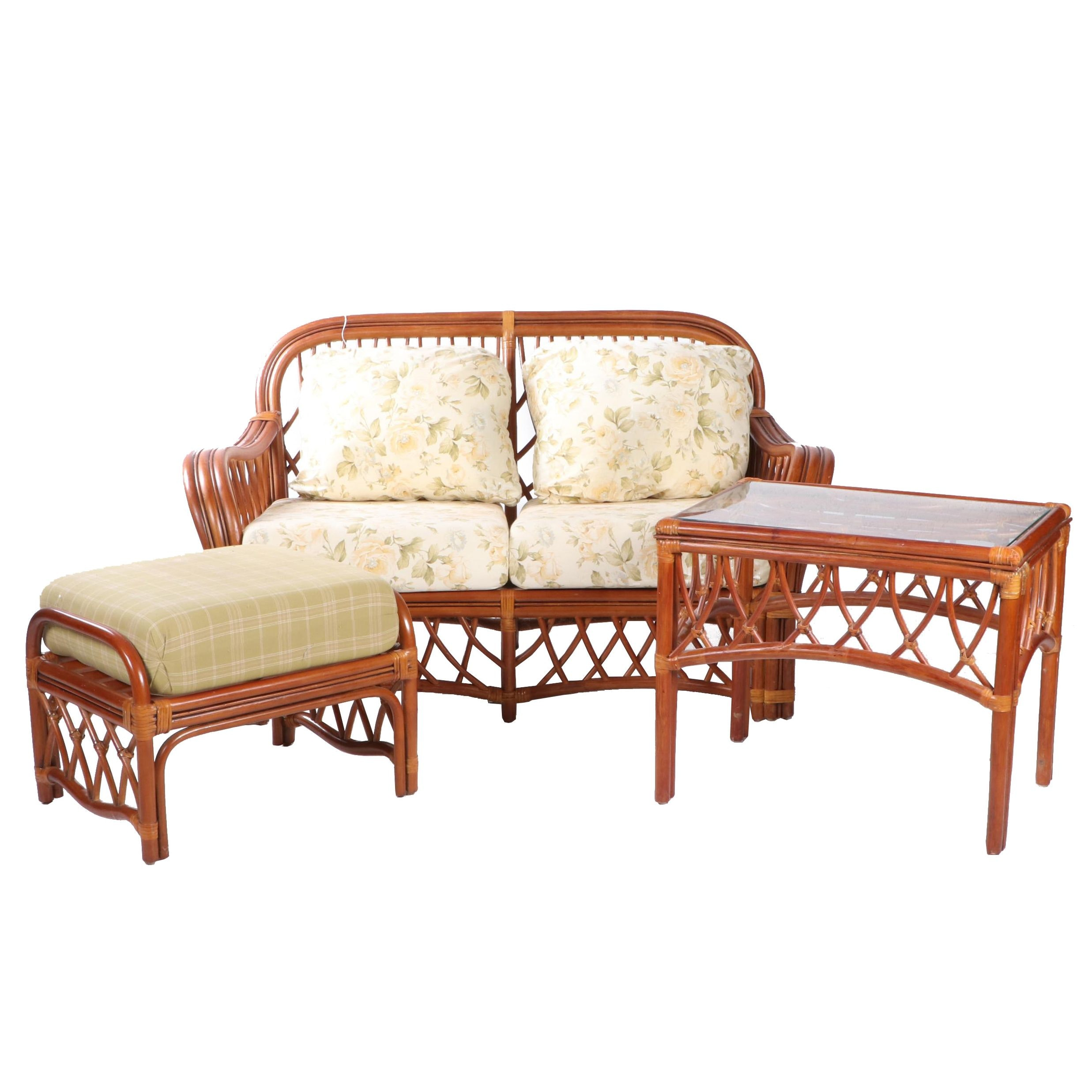 Rattan Loveseat, Ottoman, and Side Table