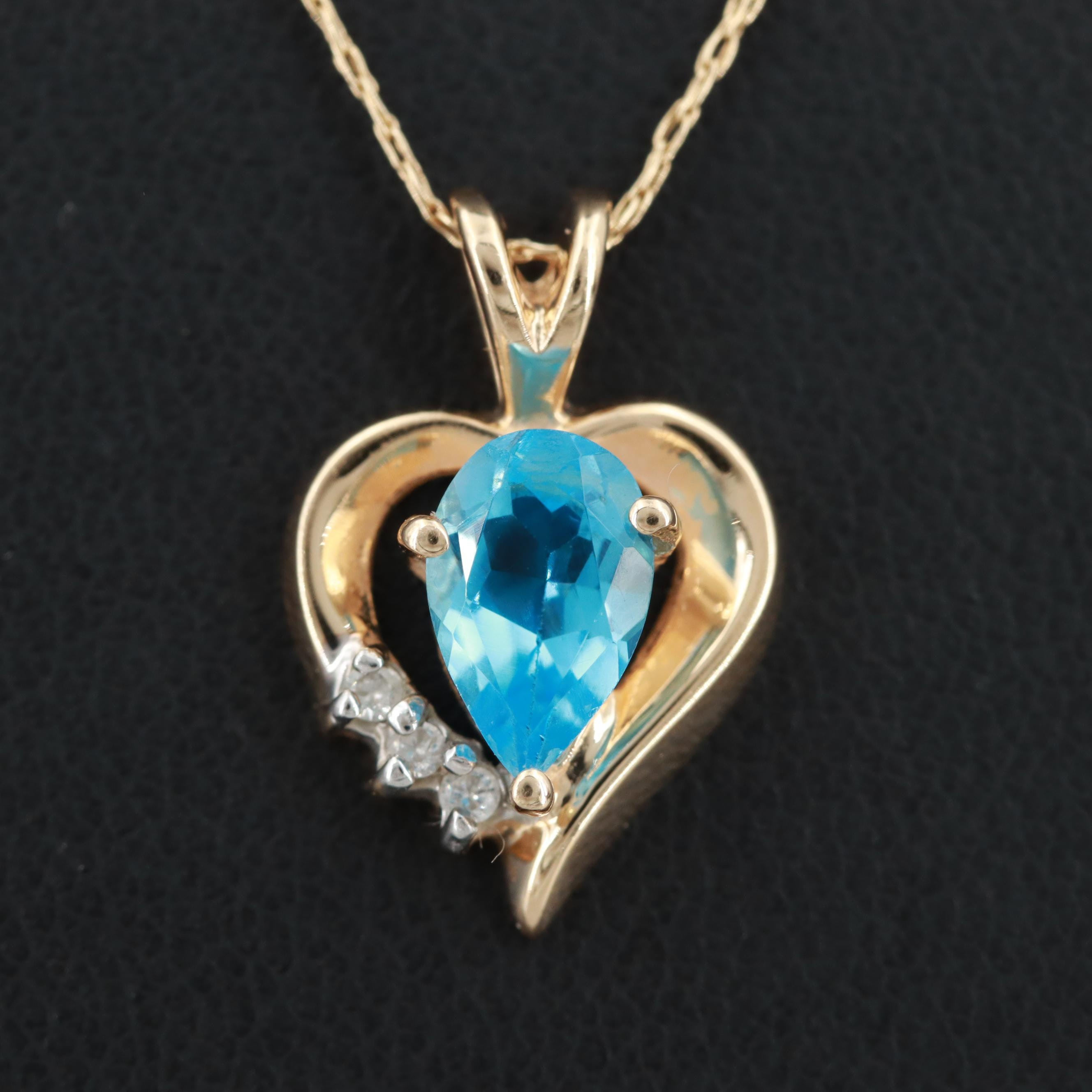 14K Yellow Gold Topaz and Diamond Heart Pendant Necklace