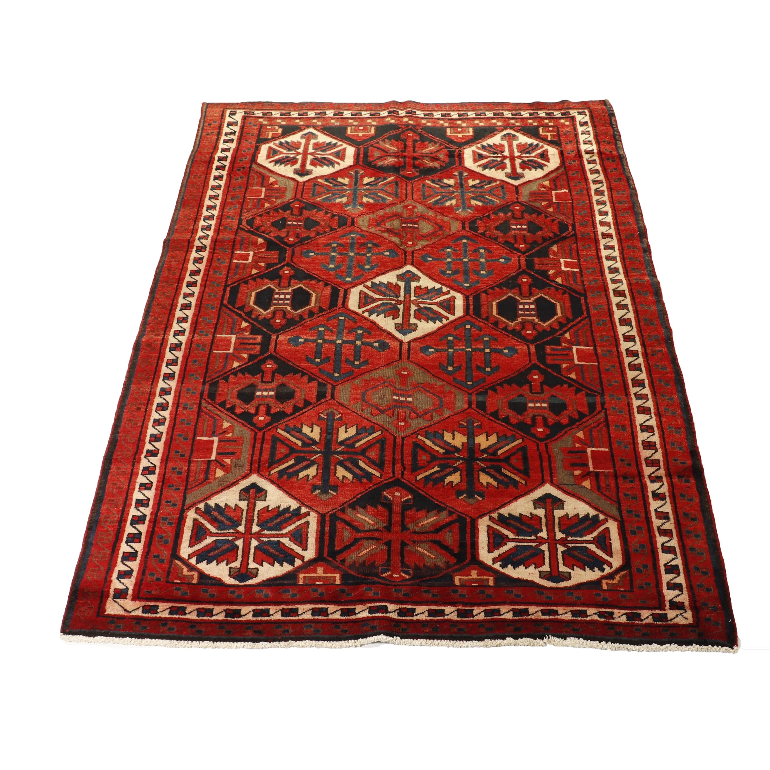 Hand-Knotted Persian Kurdish Wool Rug