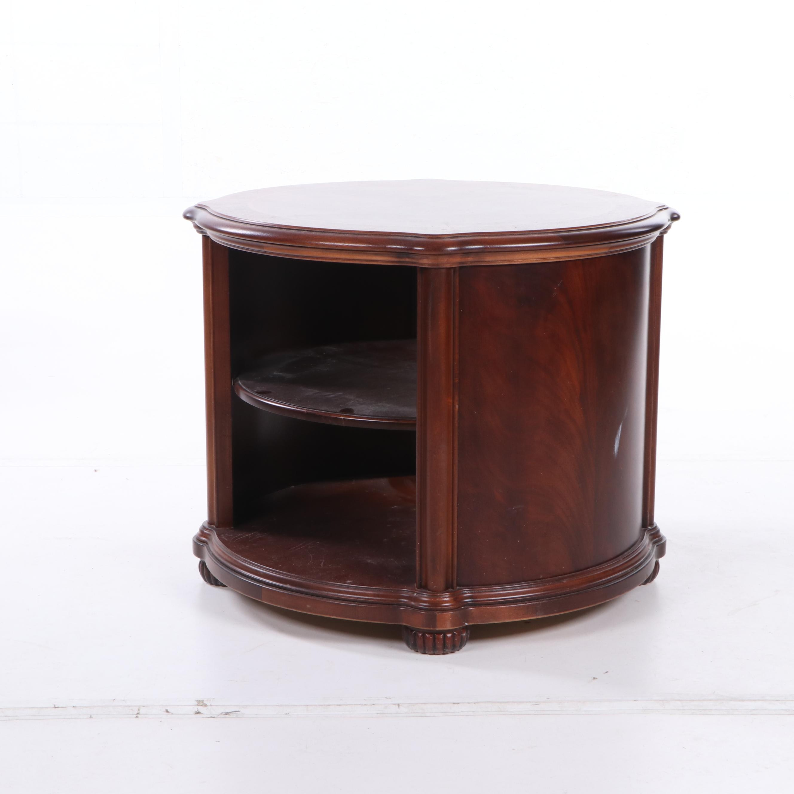 Round Figured Mahagany Side Table, 20th Century