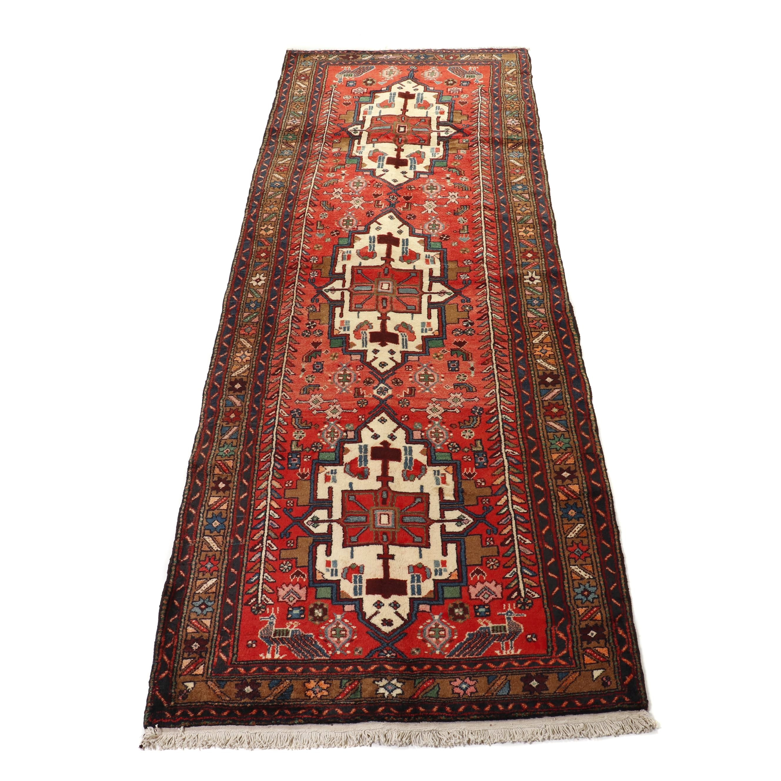 Hand-Knotted Persian Heriz Pictorial Wool Carpet Runner