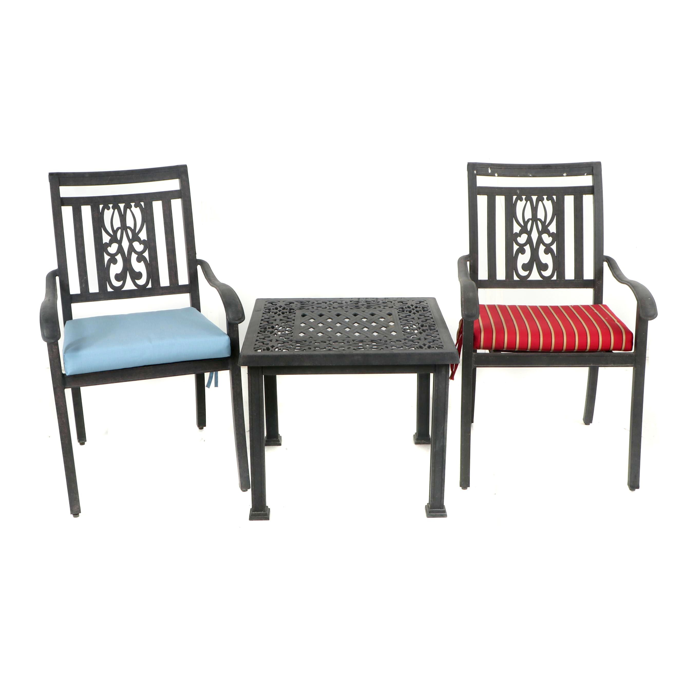 Metal Patio Side Table with Armchairs, 21st Century