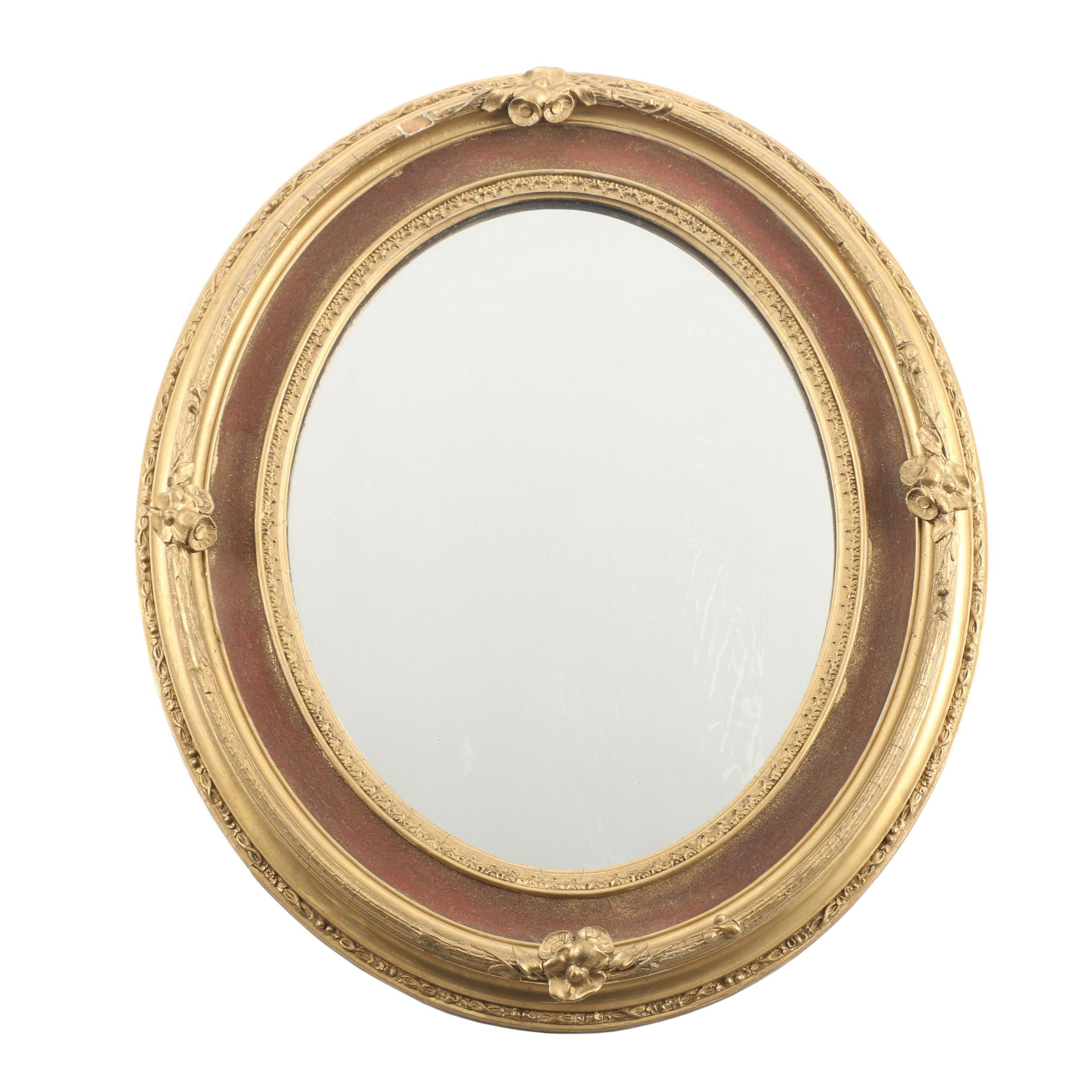Oval Giltwood and Gesso Mirror, Mid-Century