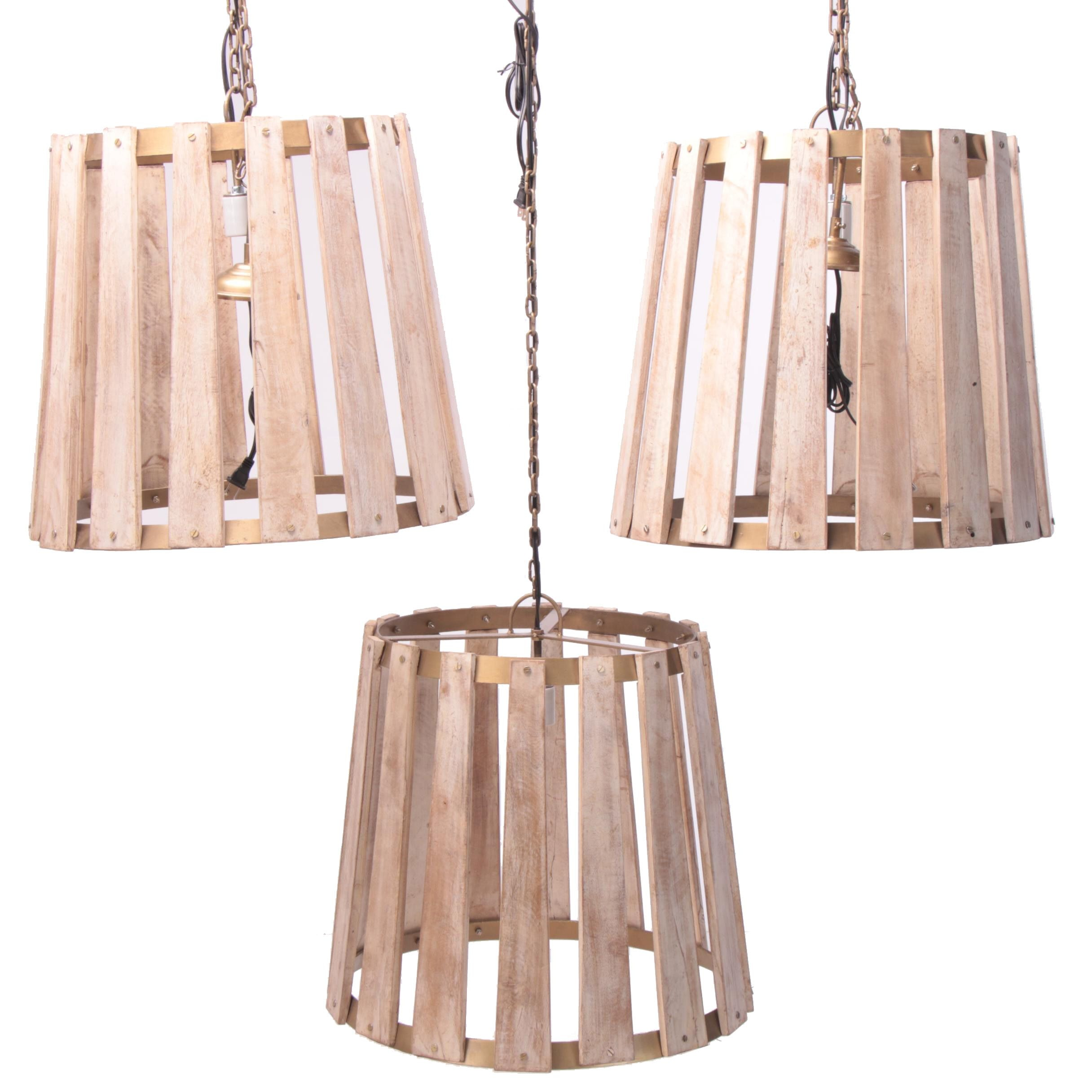 "Set of ""Napa"" Oak Barrel Stave Pendants"