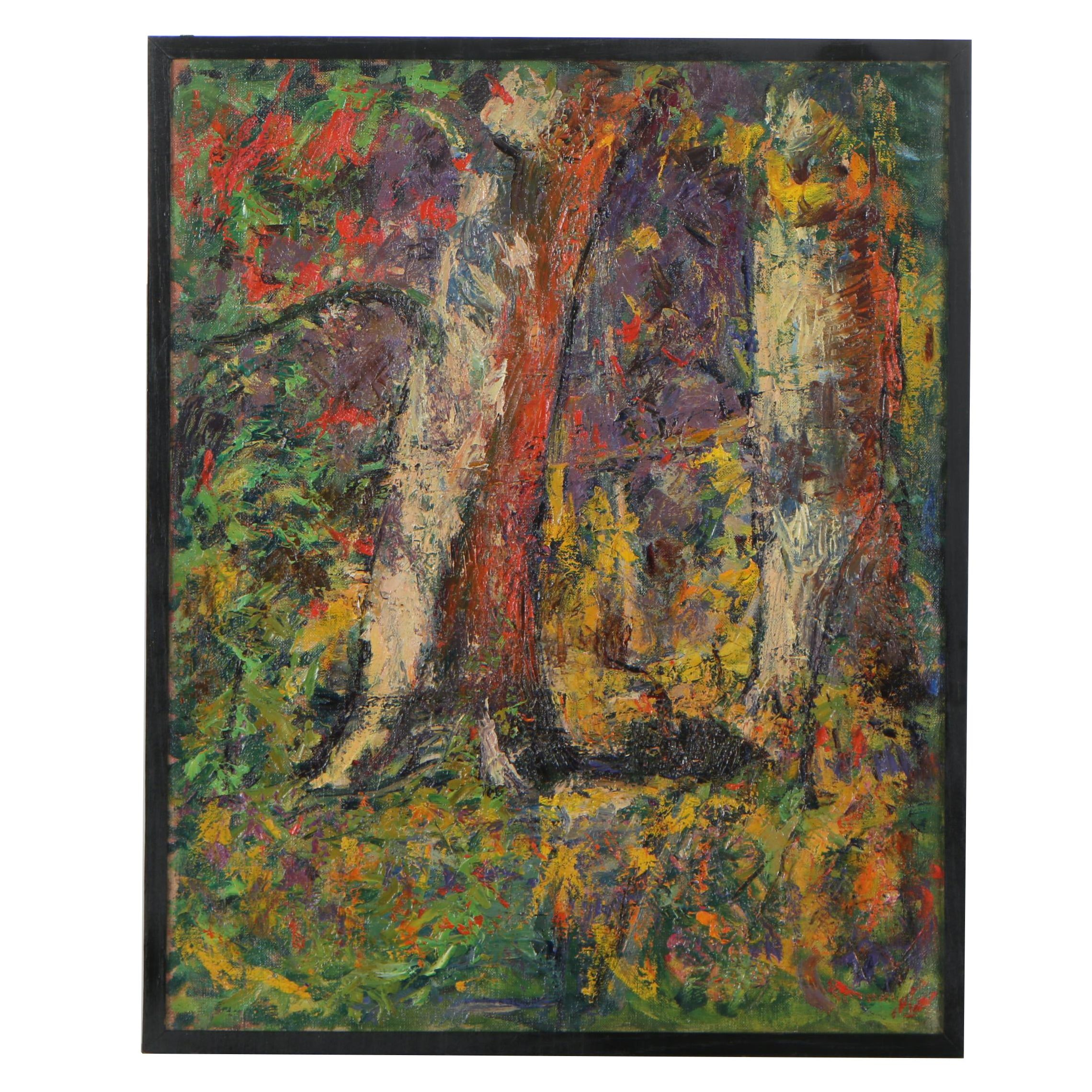 "Robert Whitmore Oil Painting ""Forest Interior with Sycamores"", Circa 1935"
