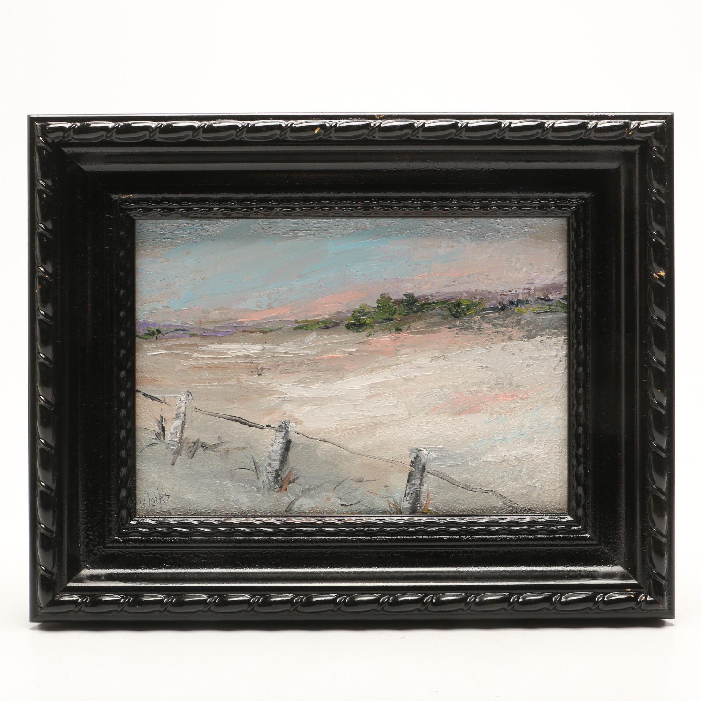 Trish Weeks Expressionist Style Oil Painting of Coastal Landscape