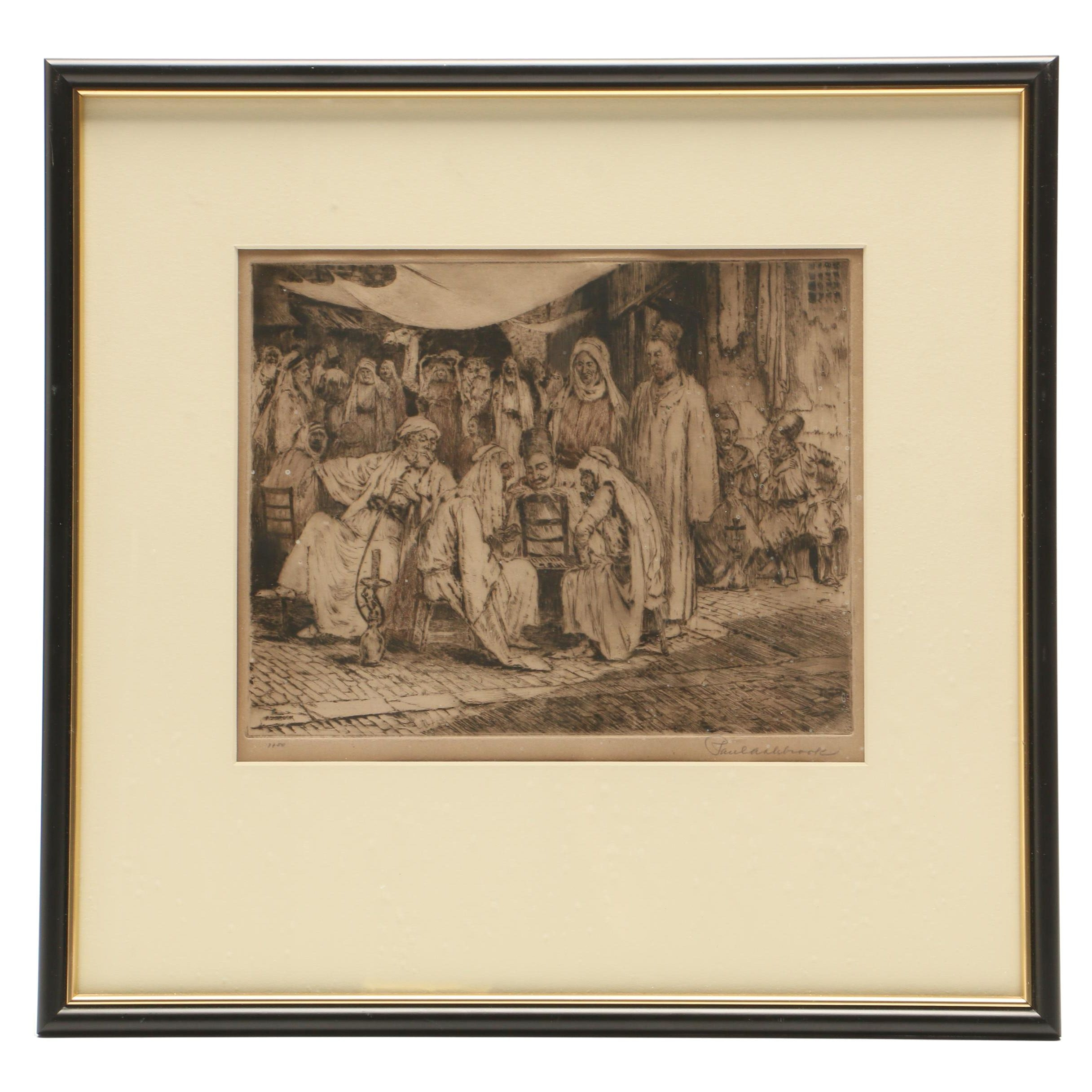 Paul Ashbrook Etching of Middle Eastern Genre Scene