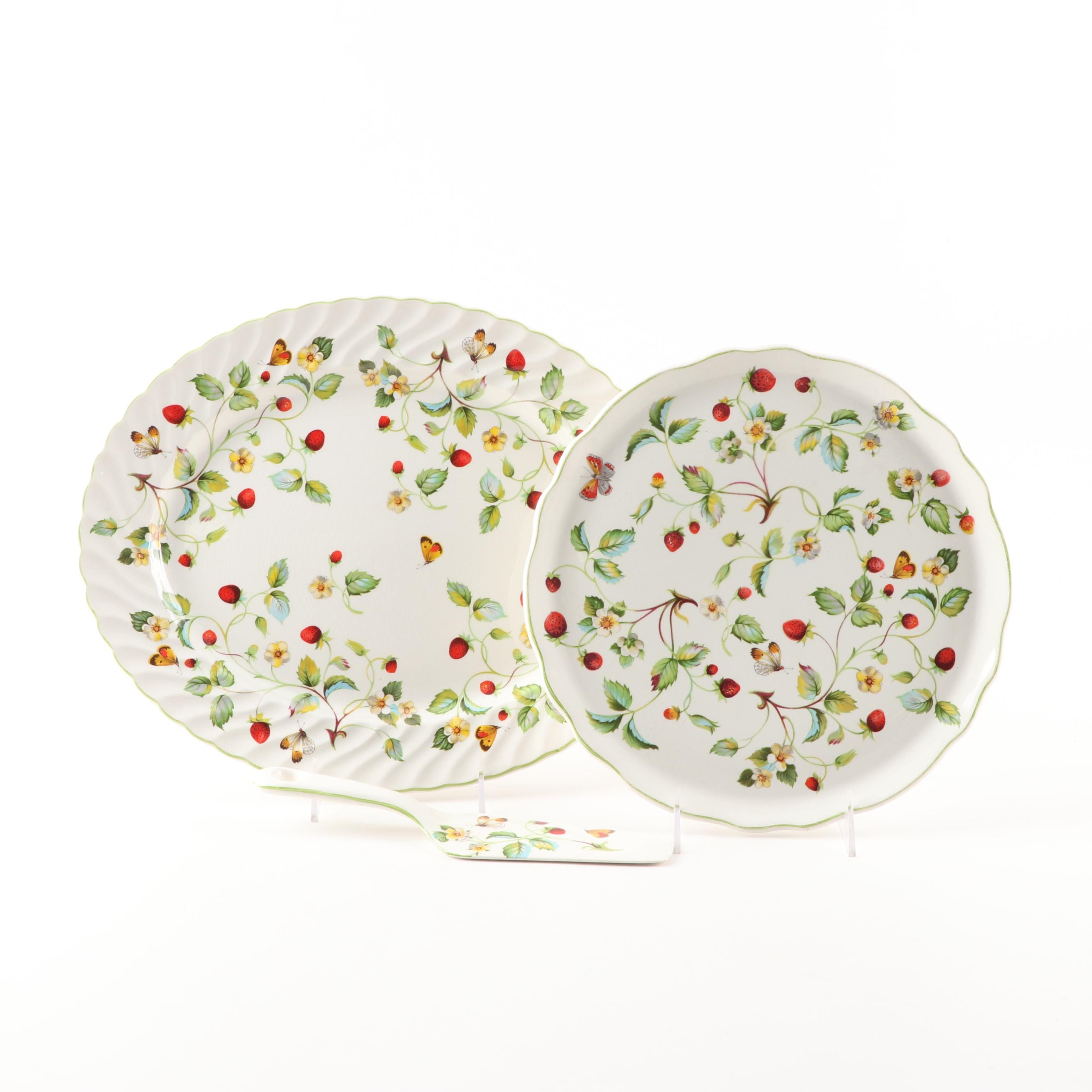 """James Kent """"Strawberry"""" Platter, Cake Plate and Pastry Server"""