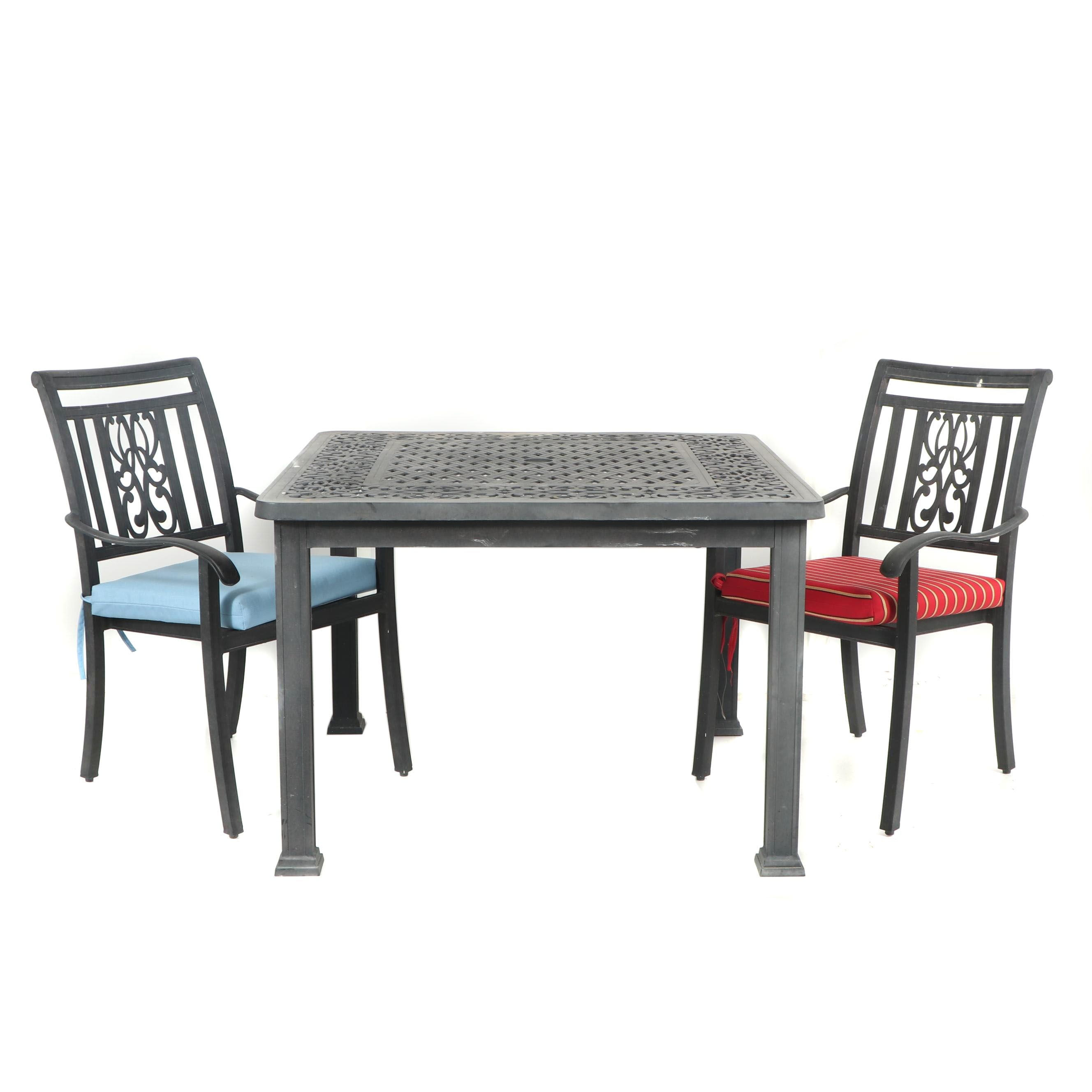Metal Patio Table with Armchairs, 21st Century