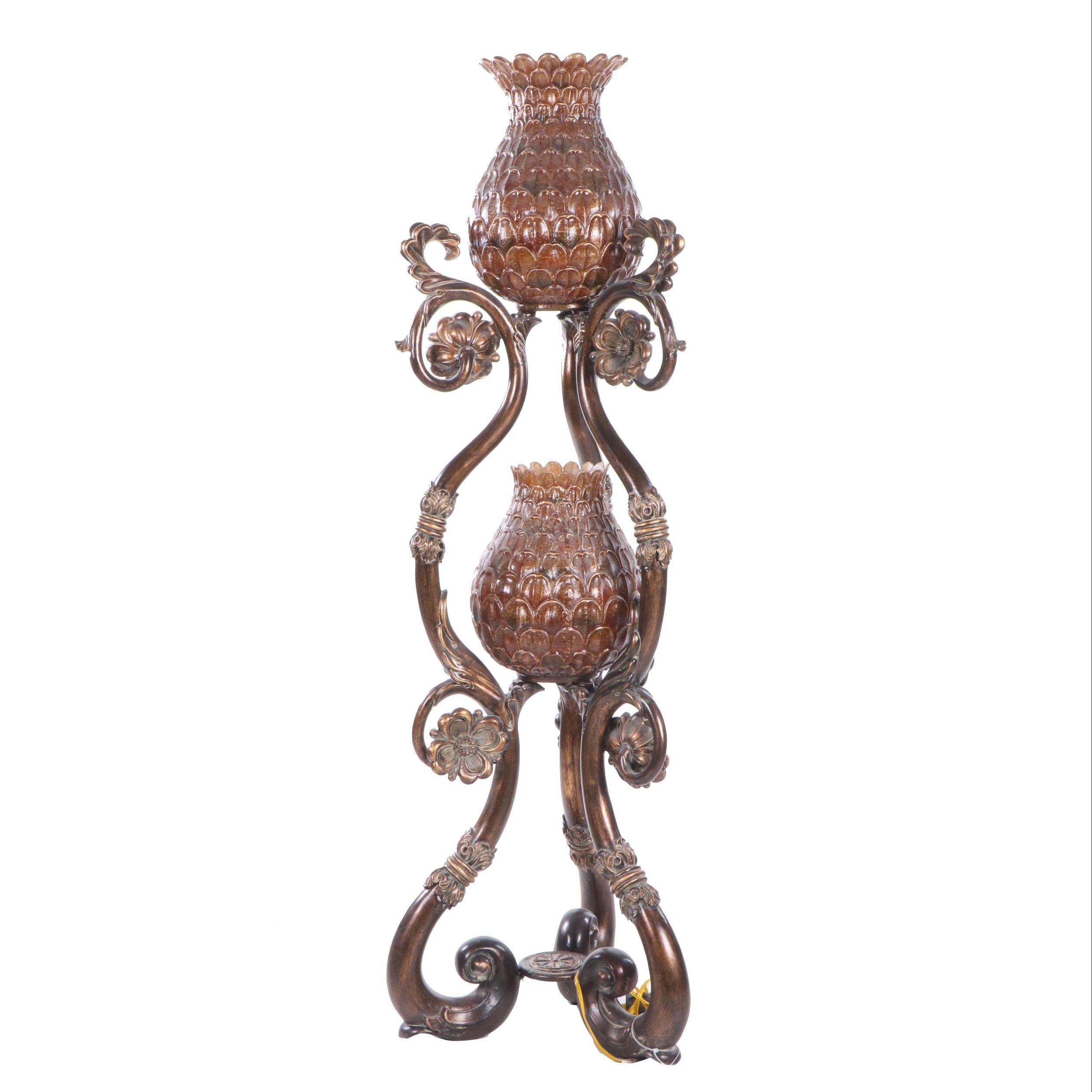 British Colonial Style Tiered Pineapple Floor Lamp