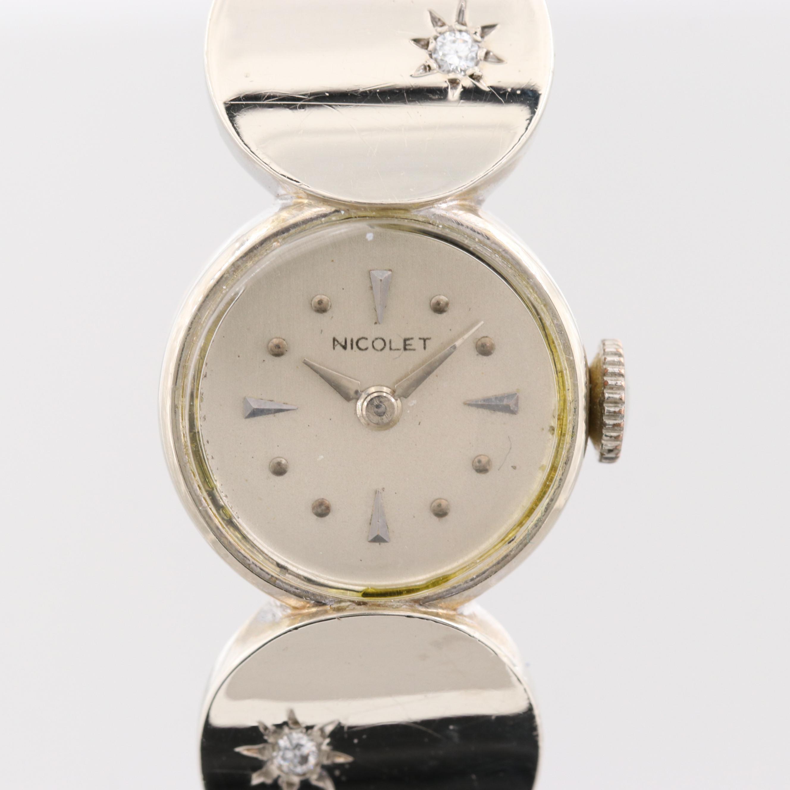 Nicolet 14K White Gold Wristwatch With Diamonds