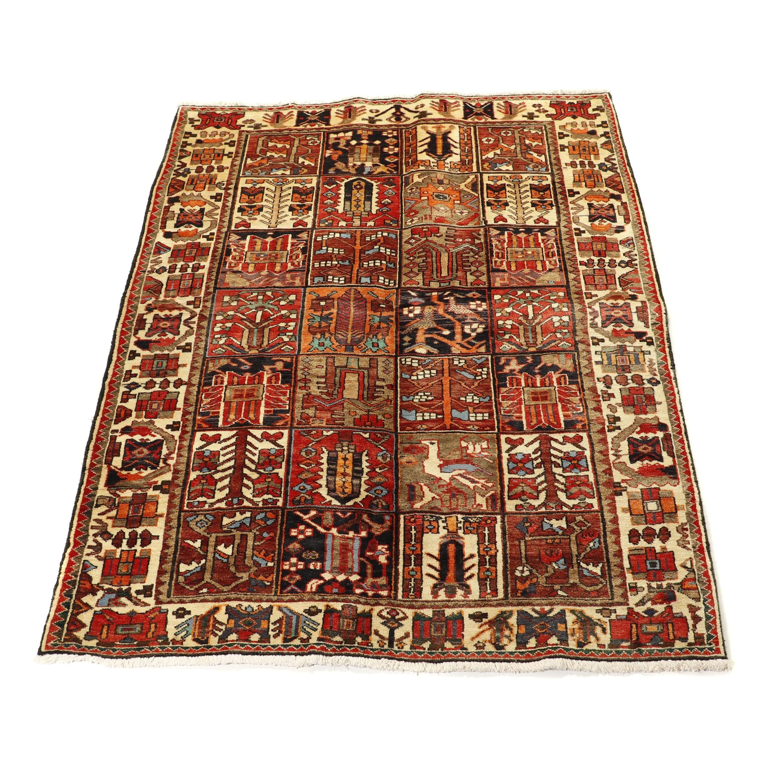 Hand-Knotted Persian Boldaji Garden Panel Wool Rug
