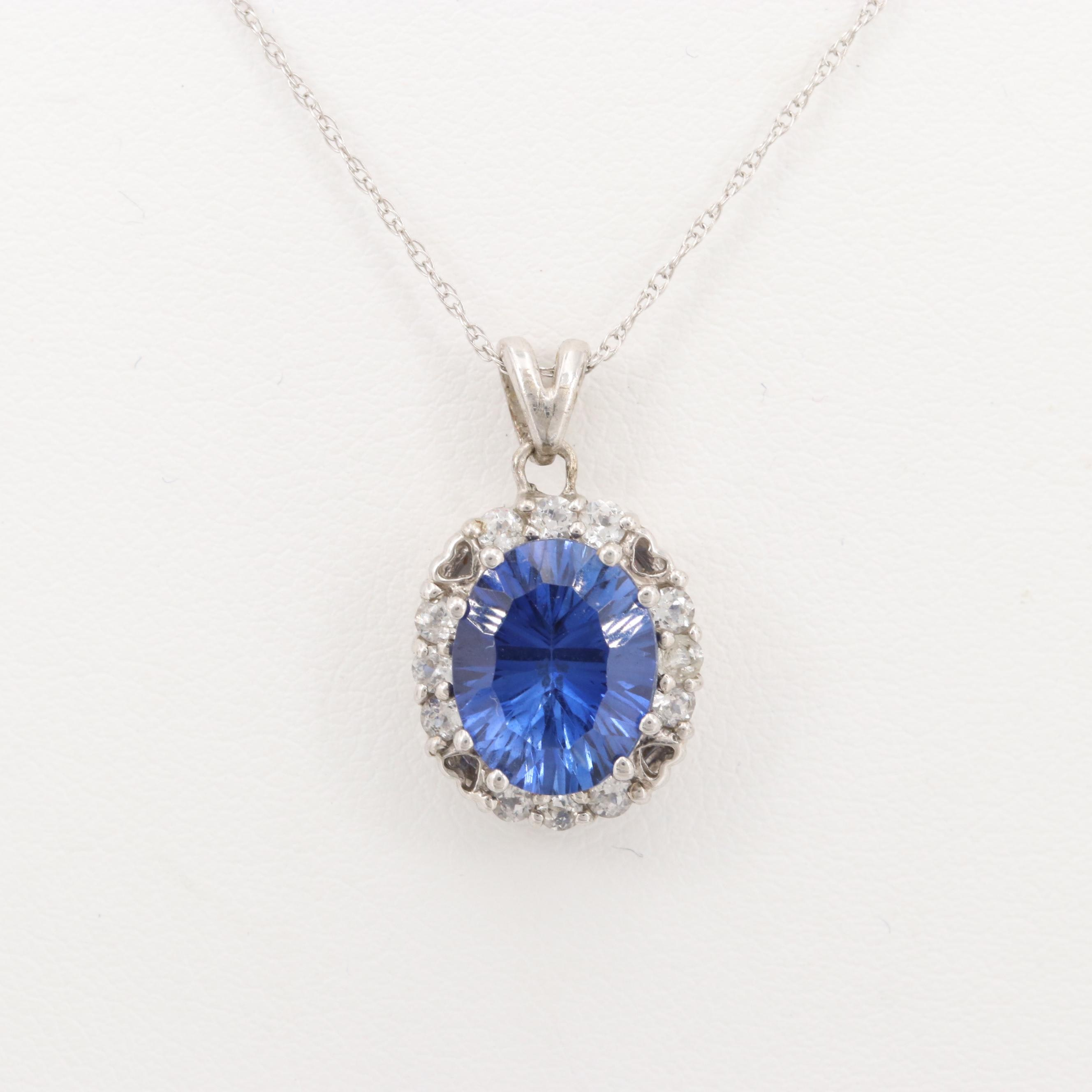 10K White Gold Synthetic Sapphire and Cubic Zirconia Pendant Necklace