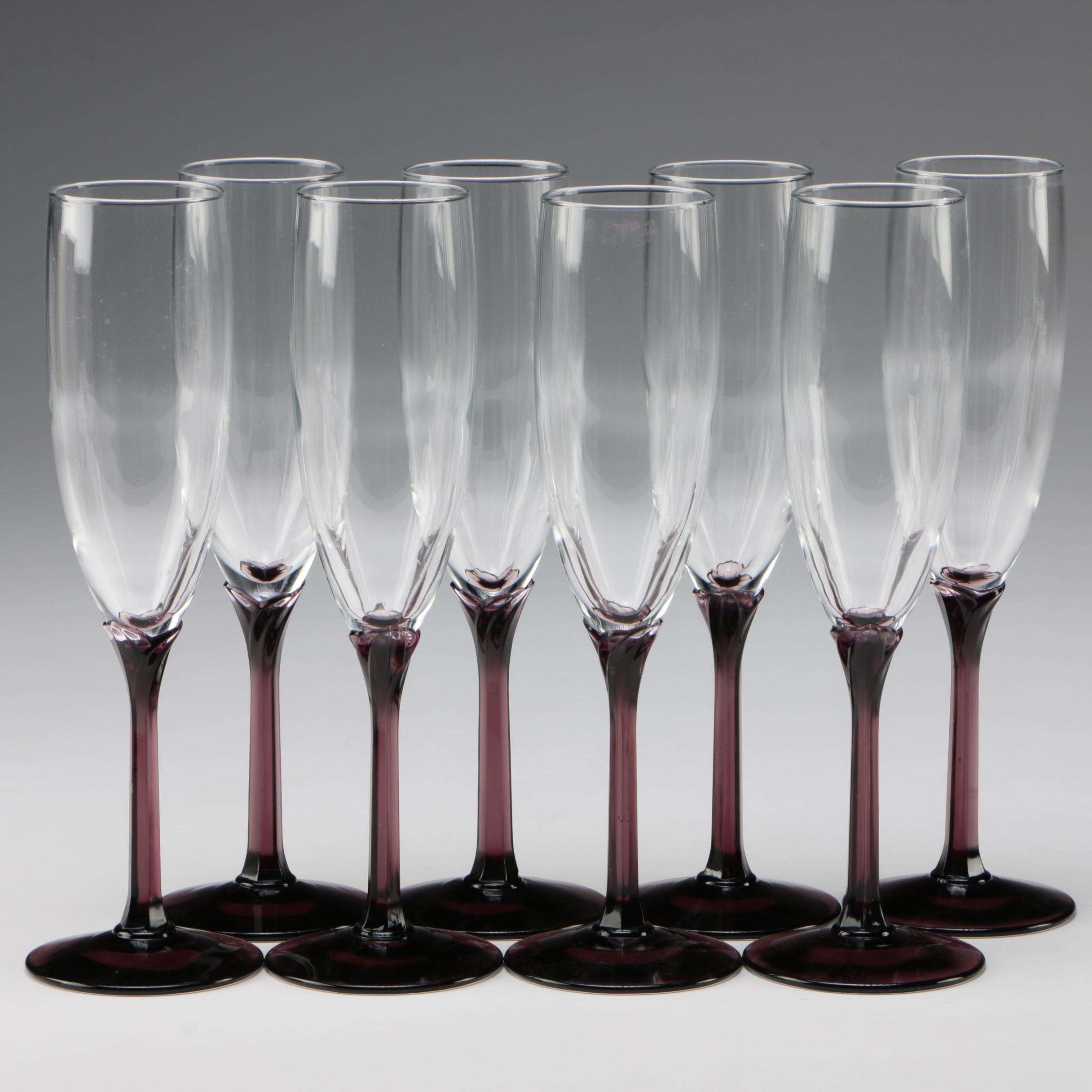 "Libbey ""Domaine Purple"" Glass Champagne Flutes"