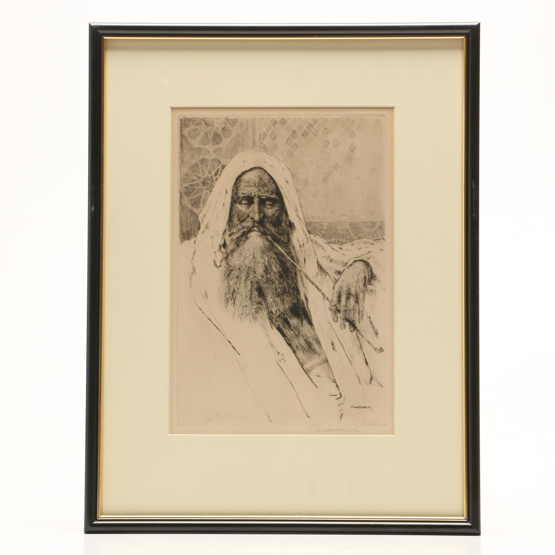 Paul Ashbrook Etching of Middle Eastern Man with Pipe