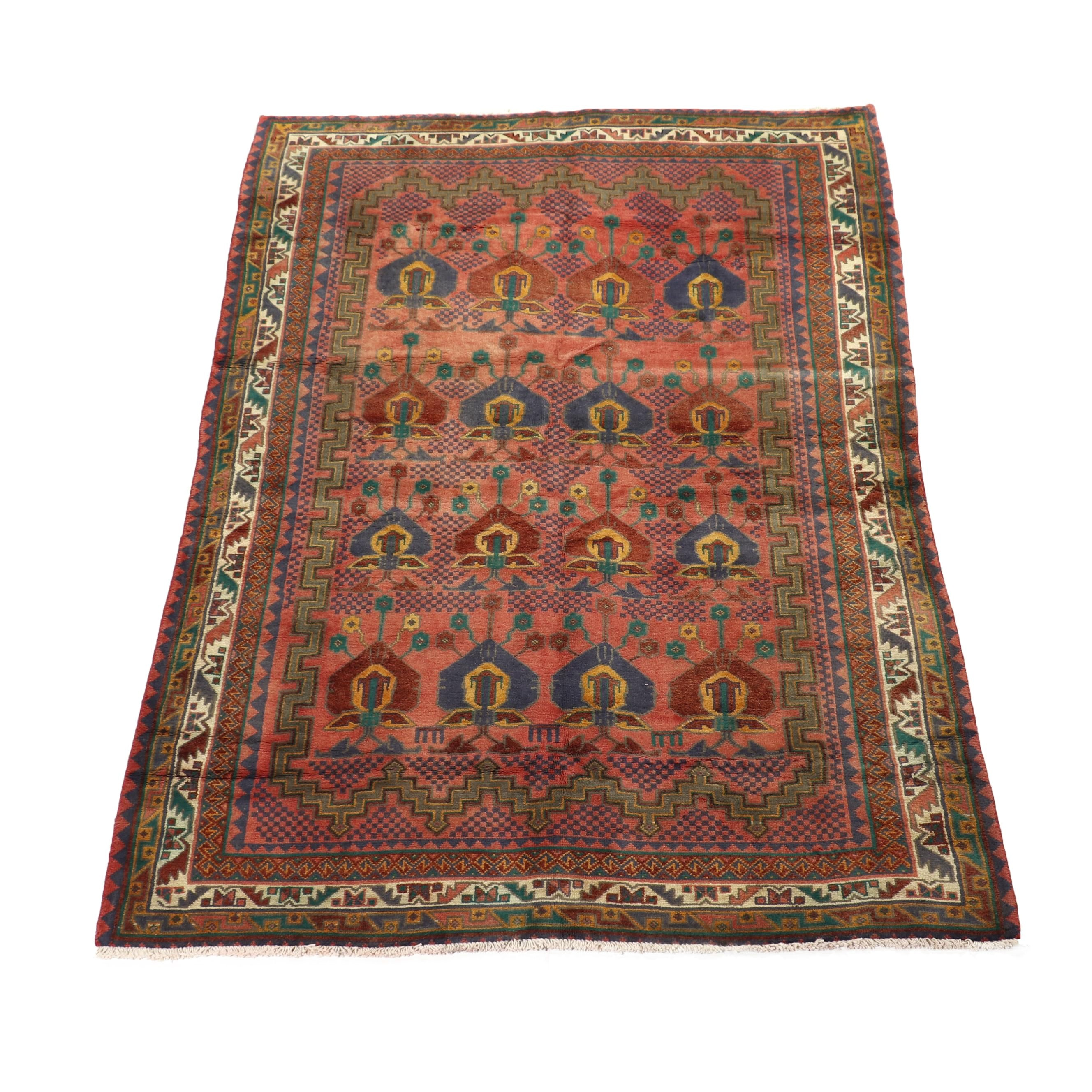"Hand-Knotted Persian Kurdish Wool Rug with ""Shield"" pattern"