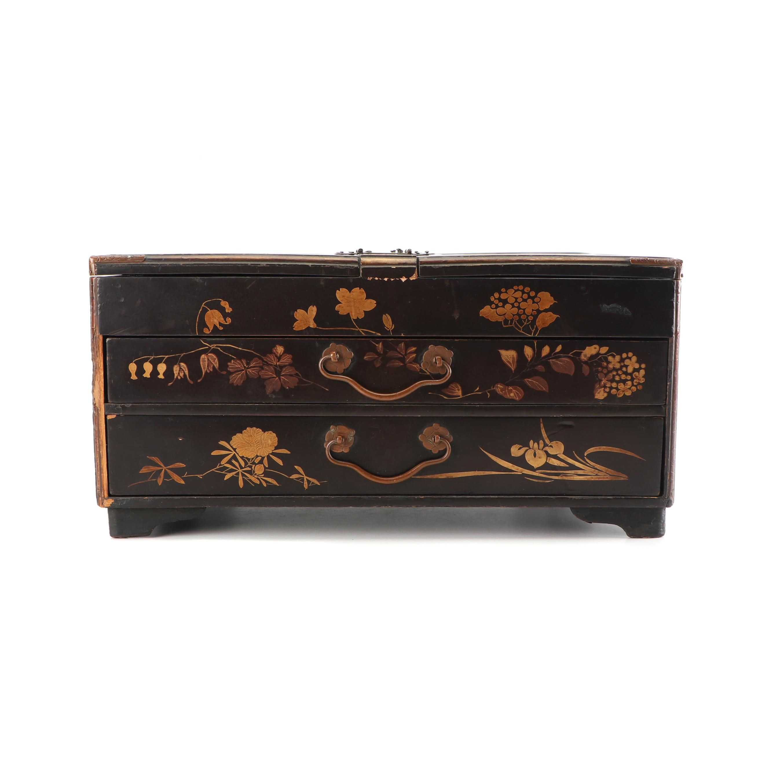 Japanese Hand Decorated Lacquered Box, Late Meiji Period