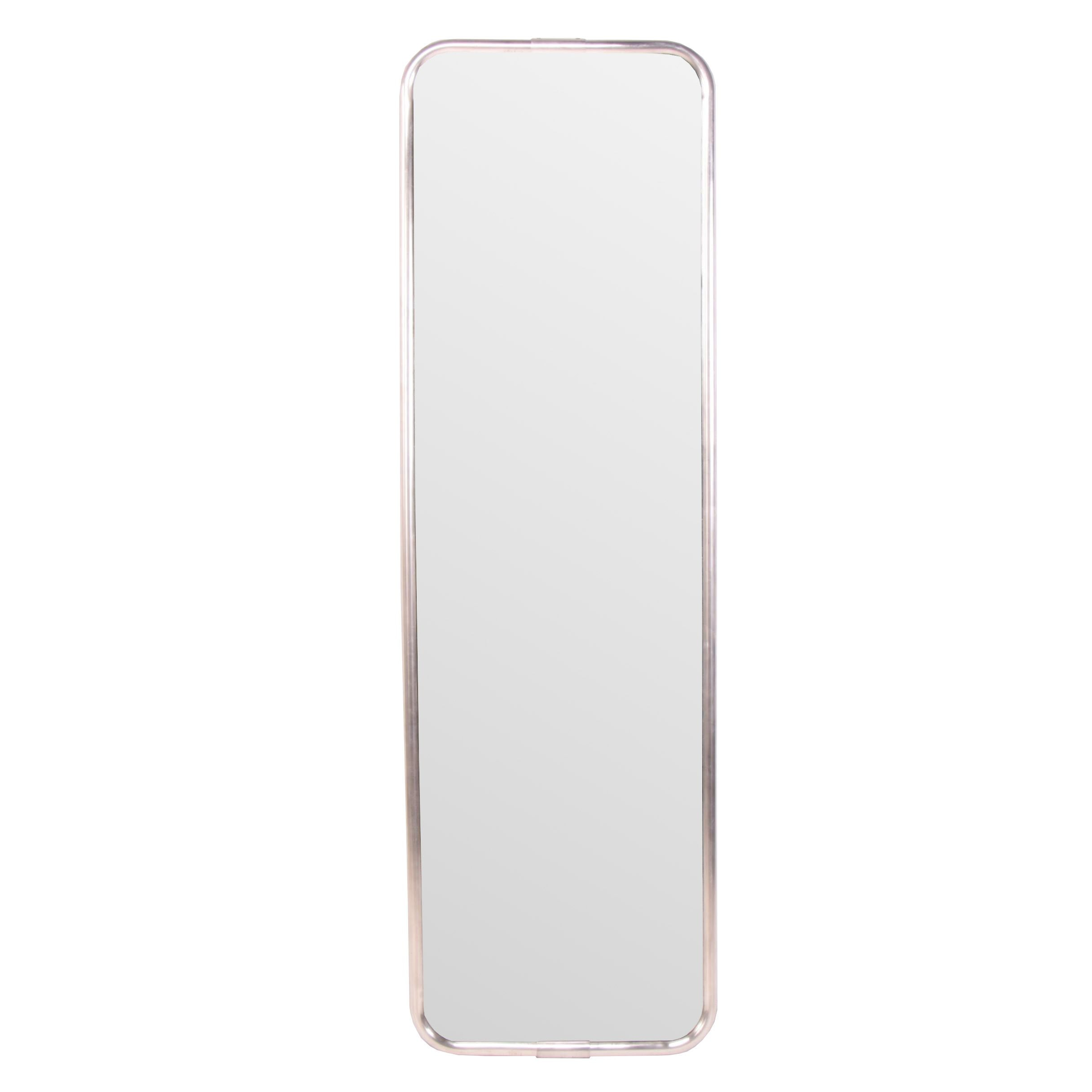 """Modern """"Couturiere"""" Silver Tone Metal Wall Mirror"""