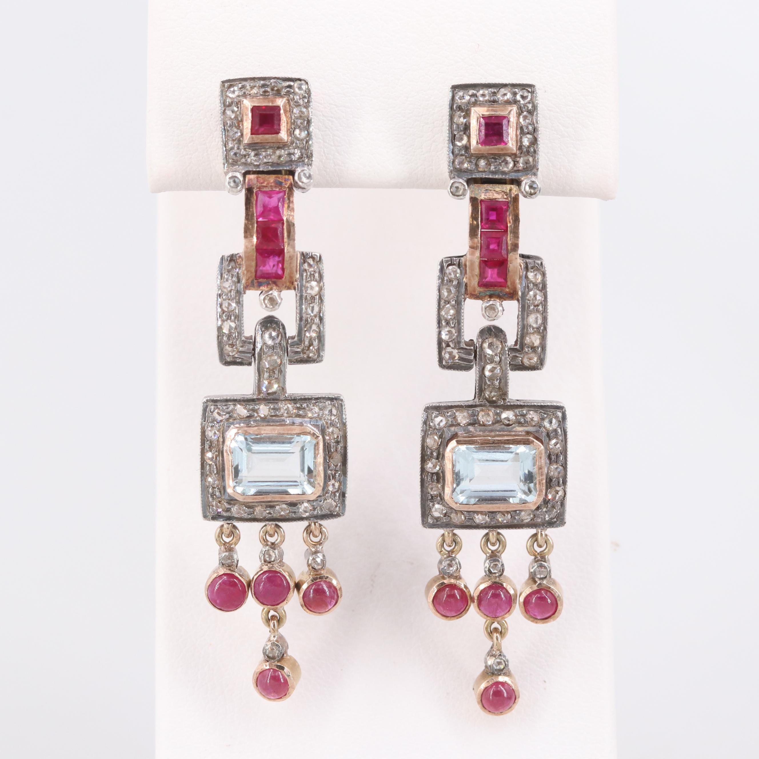 800 Silver Aquamarine, Ruby and Diamond Earrings with 14K Yellow Gold Accents