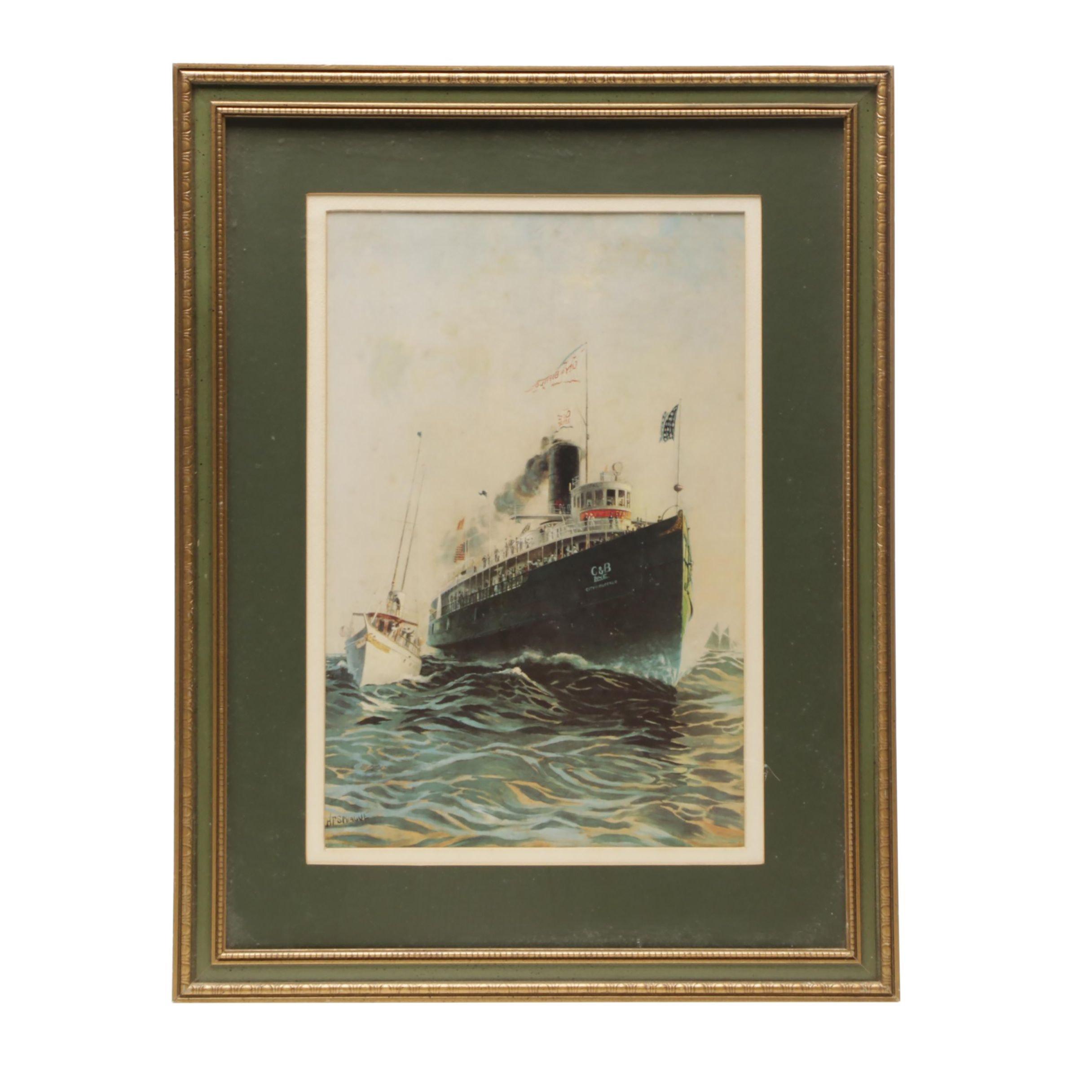 Offset Lithograph After Howard Freeman Sprague C & B Line Ship