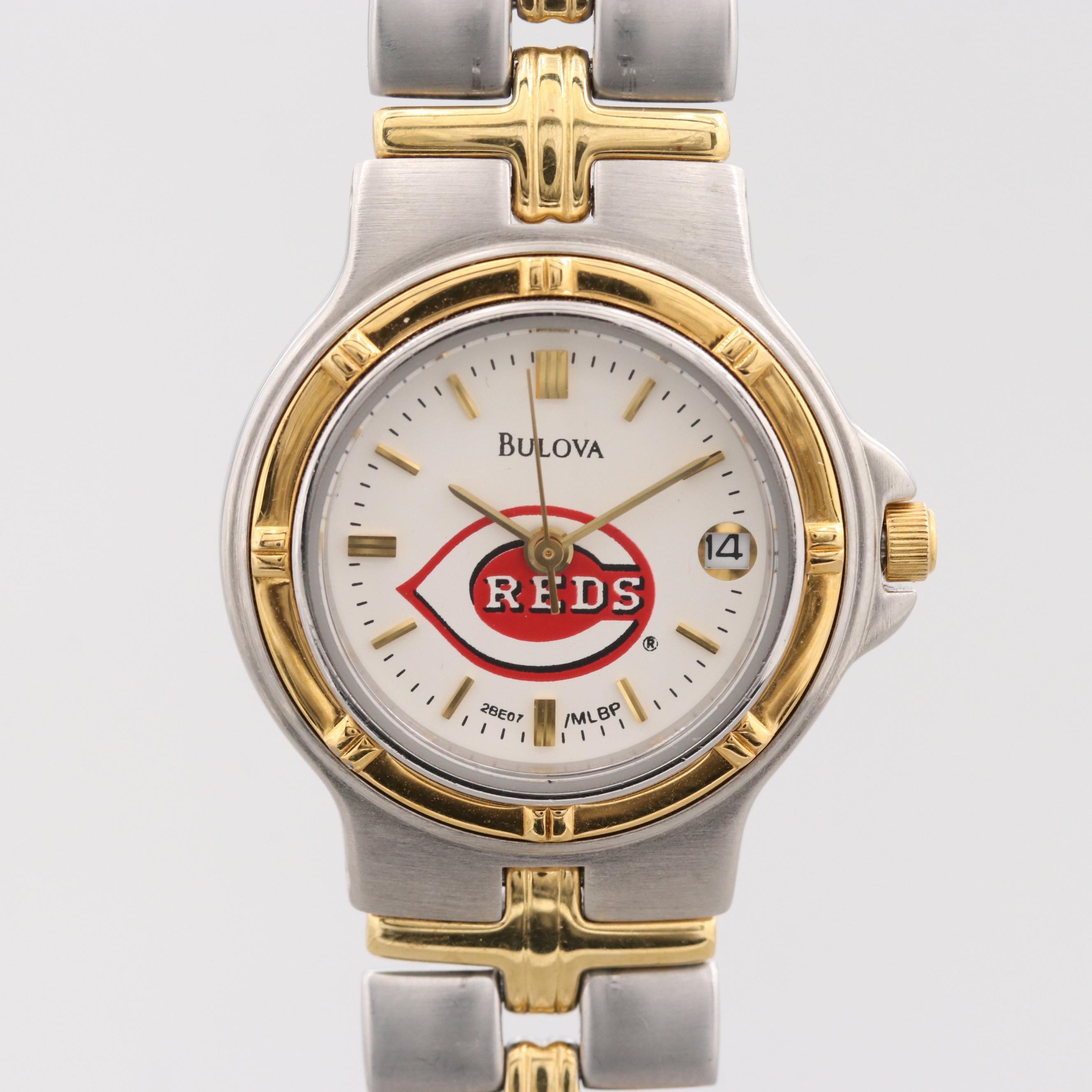 """Bulova Two-Tone """"Cincinnati Reds"""" Wristwatch With Date Window"""