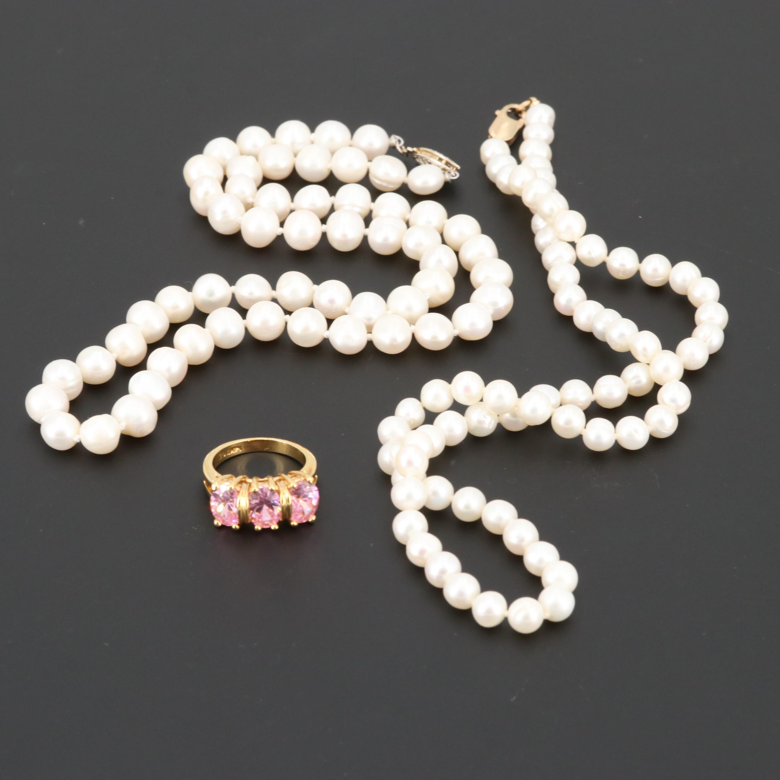 Cultured Pearl Necklaces and Cubic Zirconia Ring Including Sterling