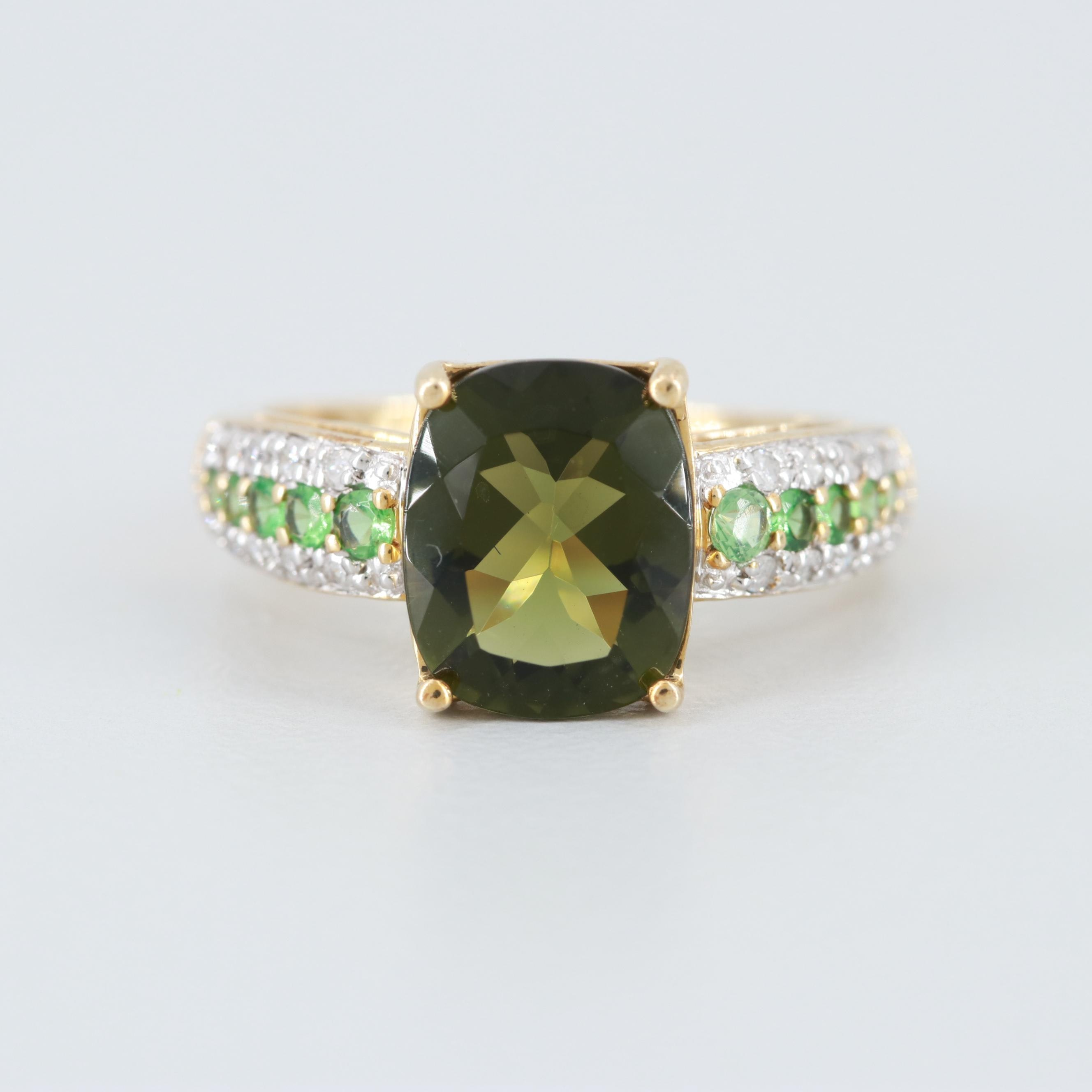 10K Yellow Gold Moldavite, Chrome Diopside and Diamond Ring