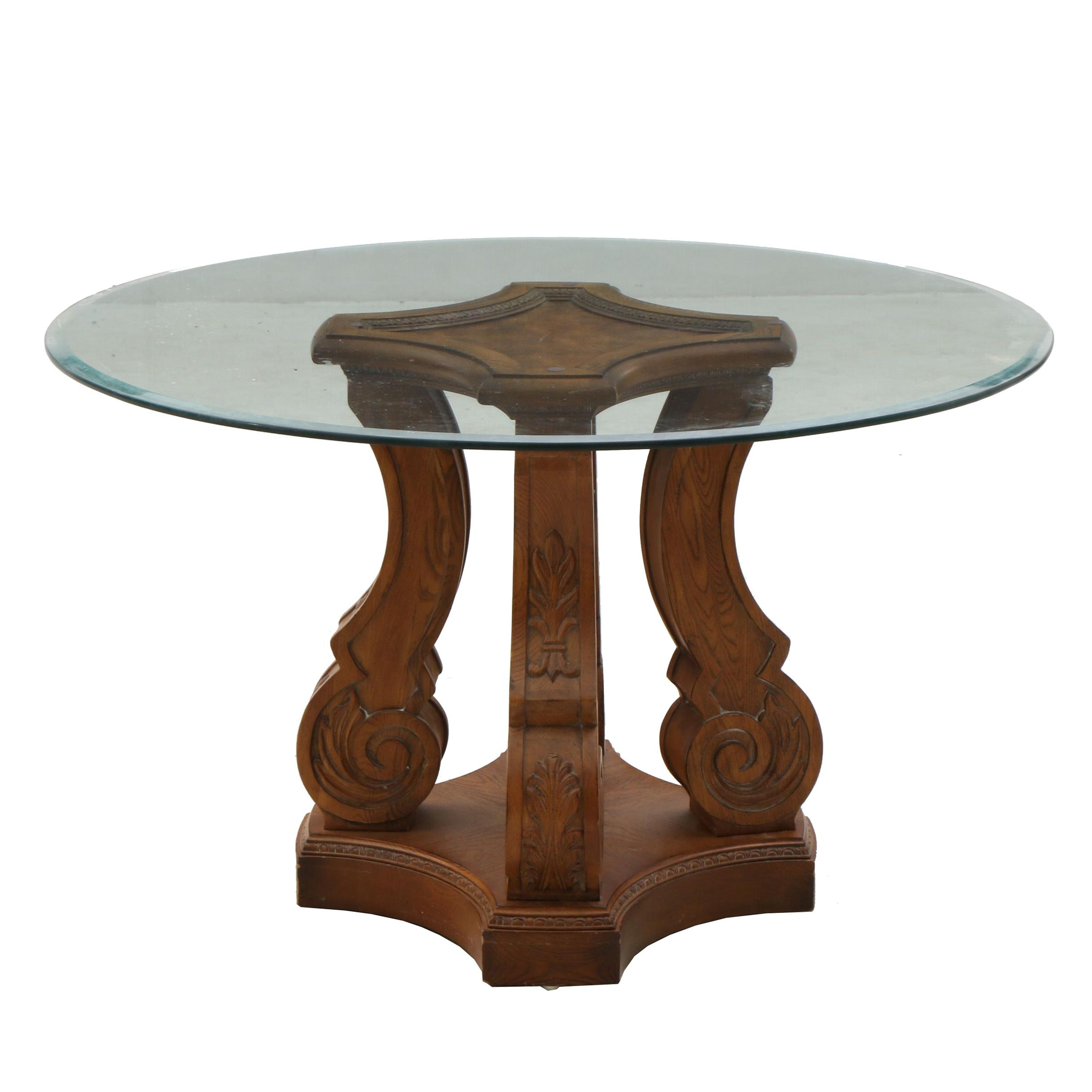 Victorian Style Dining Table with Glass Top