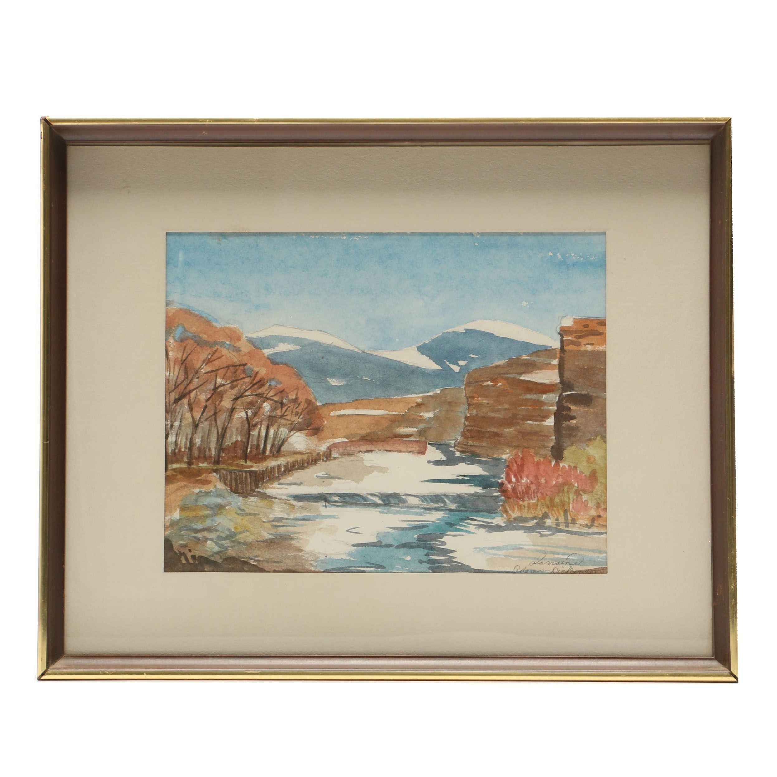 20th Century Watercolor Painting of Landscape