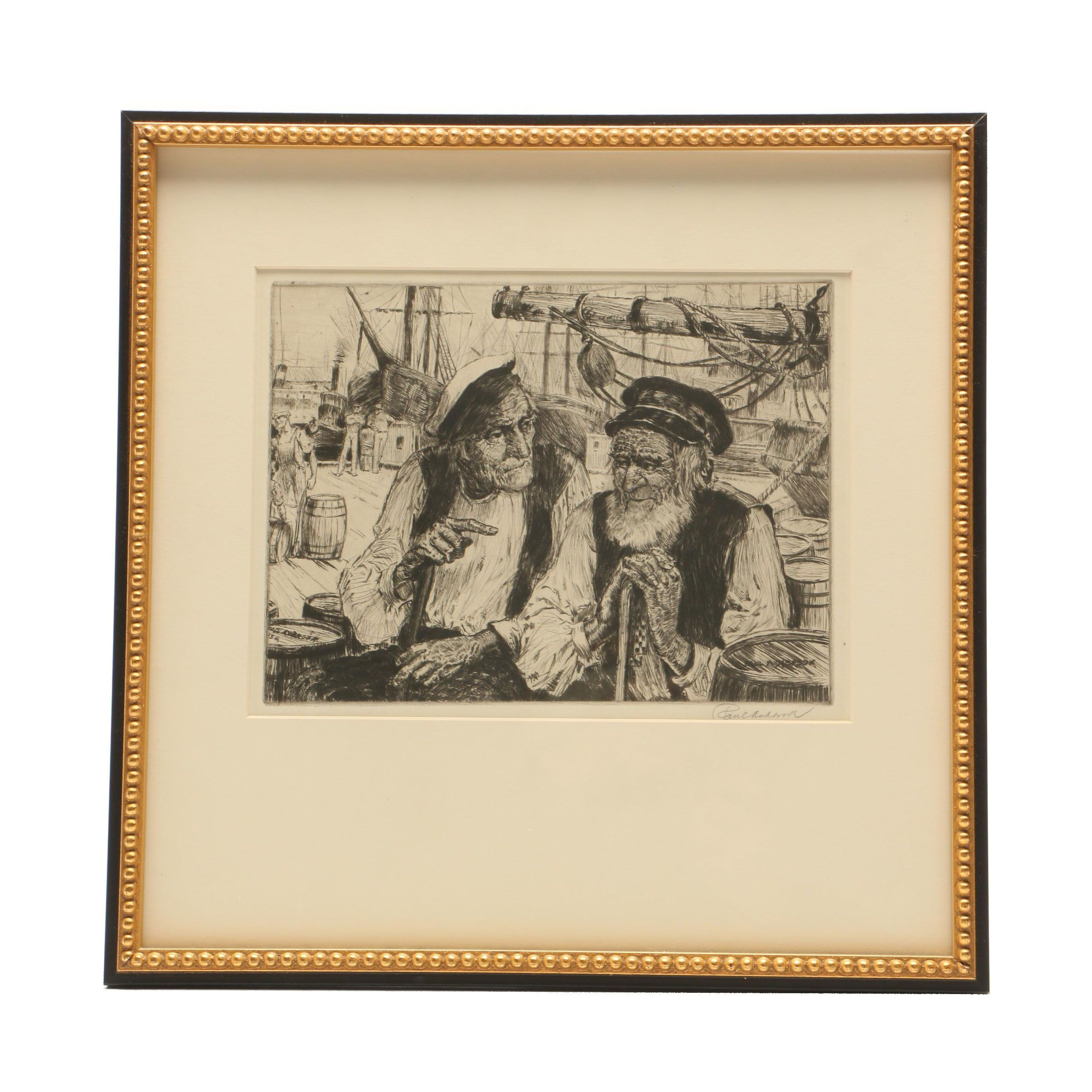 Paul Ashbrook Etching of Two Sailors on Dock