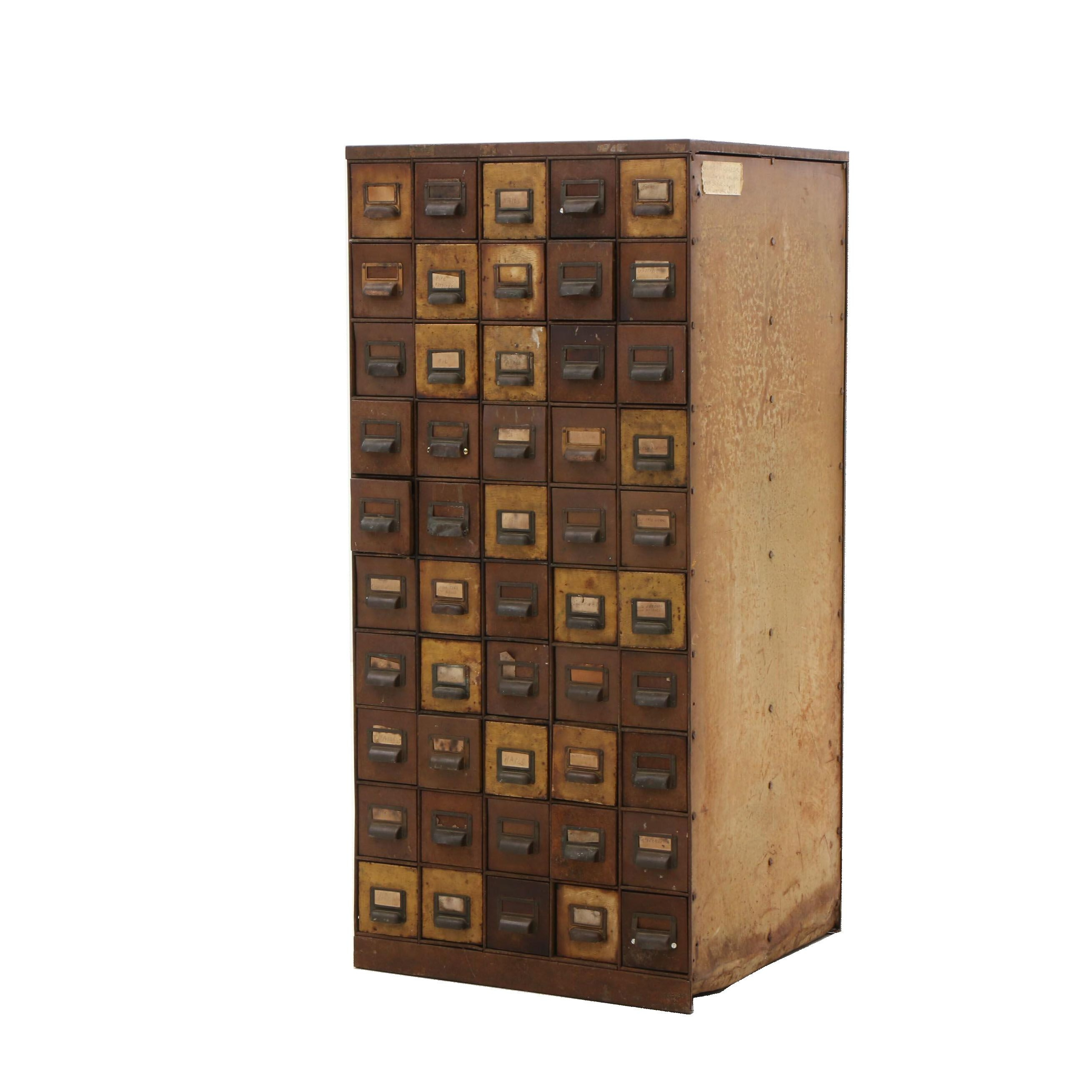 Mid-Century Era 50-Drawer Metal Storage Cabinet